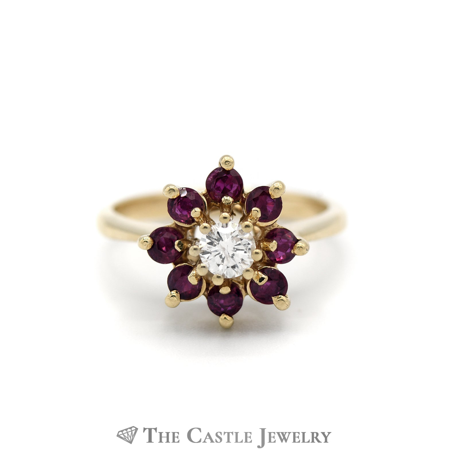 Gorgeous Flower Design Ruby Cluster Ring in 14K Yellow Gold