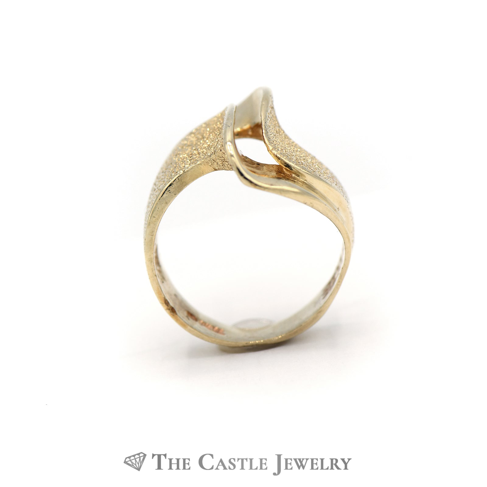 Lovely Split Wave Design Solid Gold Ring in 14K Yellow Gold-1