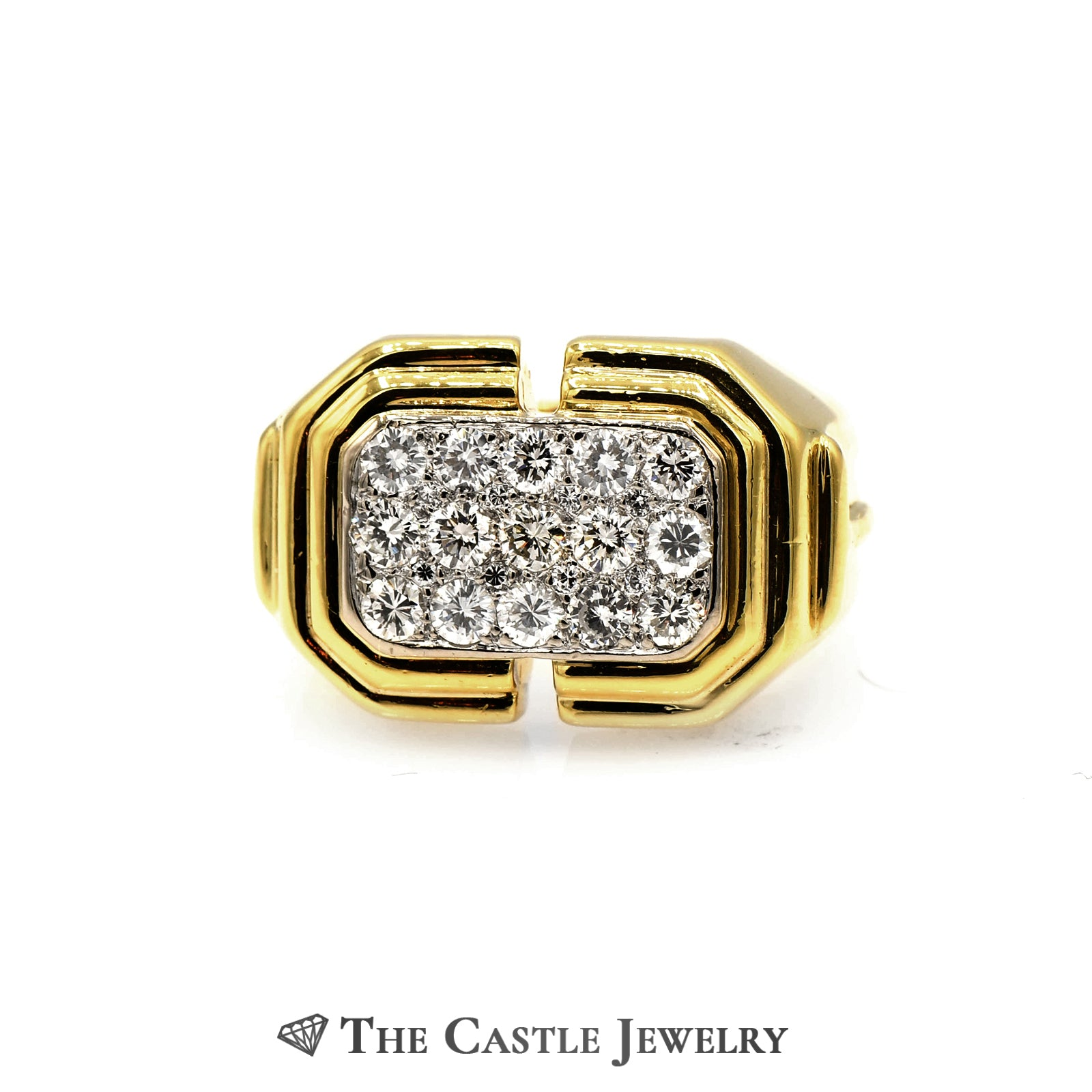 Men's Rectangle Shaped 1.13cttw Diamond Cluster Ring in 18k Yellow Gold