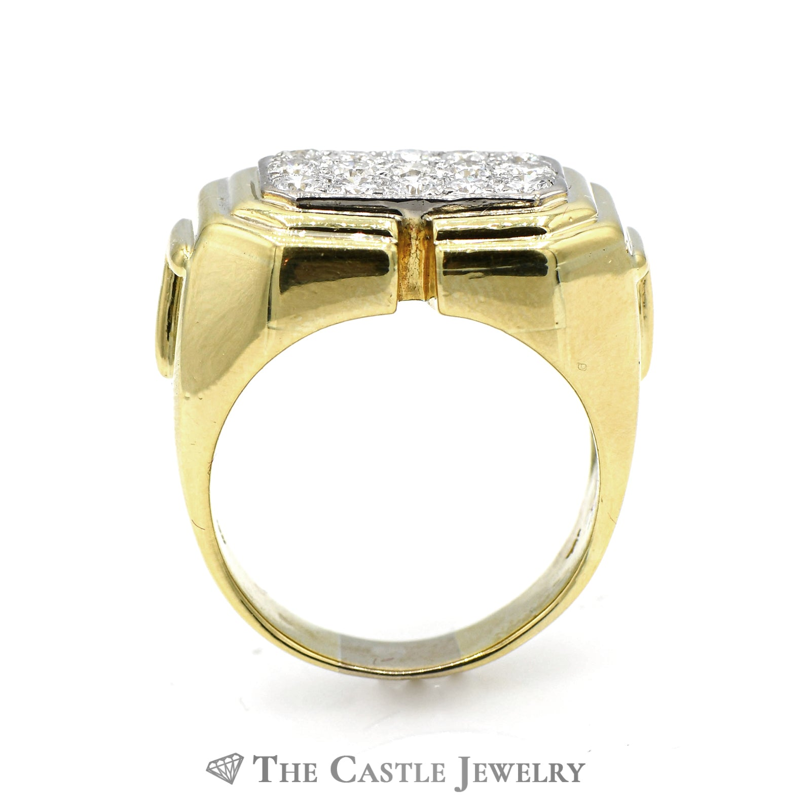 Men's Rectangle Shaped 1.13cttw Diamond Cluster Ring in 18k Yellow Gold-1