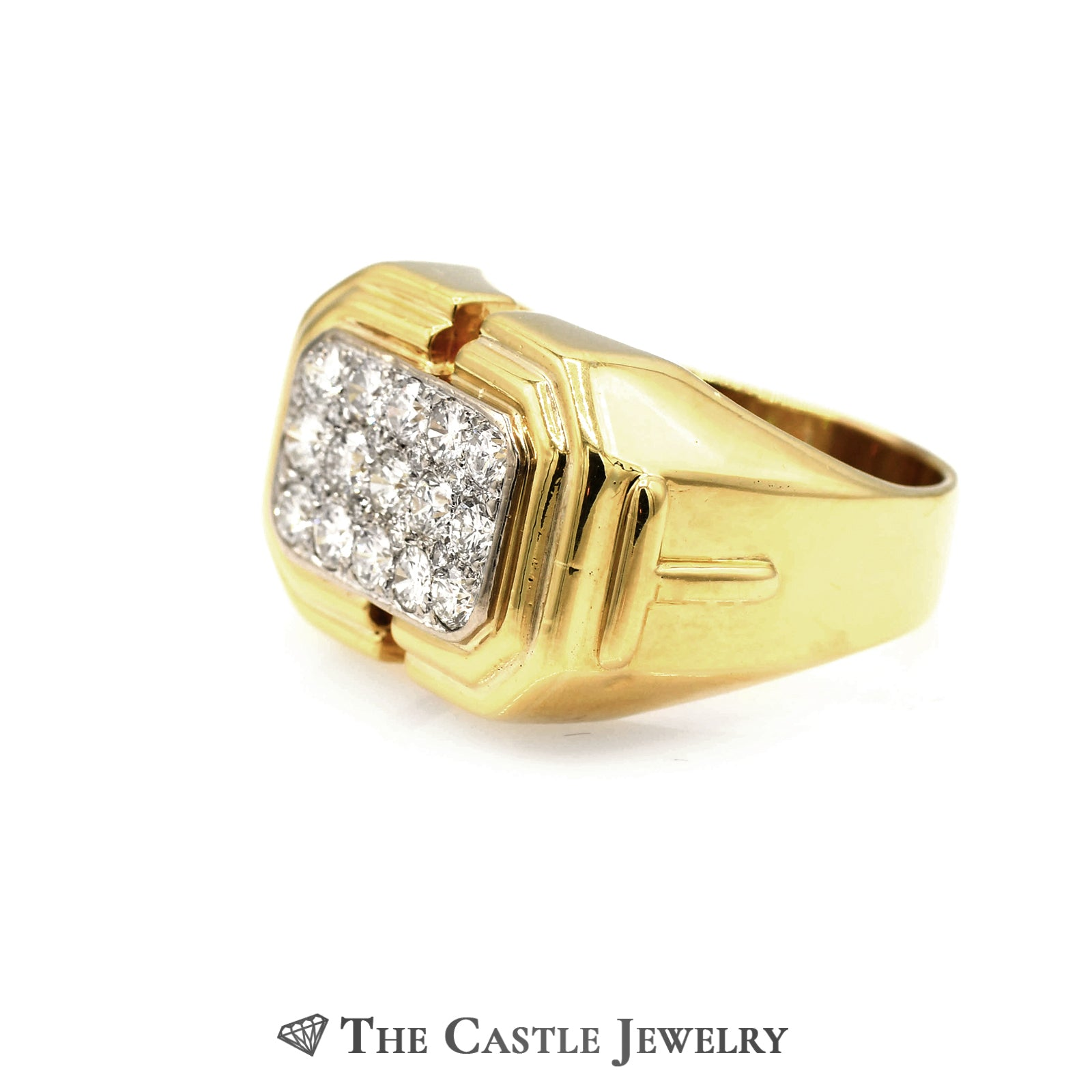 Men's Rectangle Shaped 1.13cttw Diamond Cluster Ring in 18k Yellow Gold-2