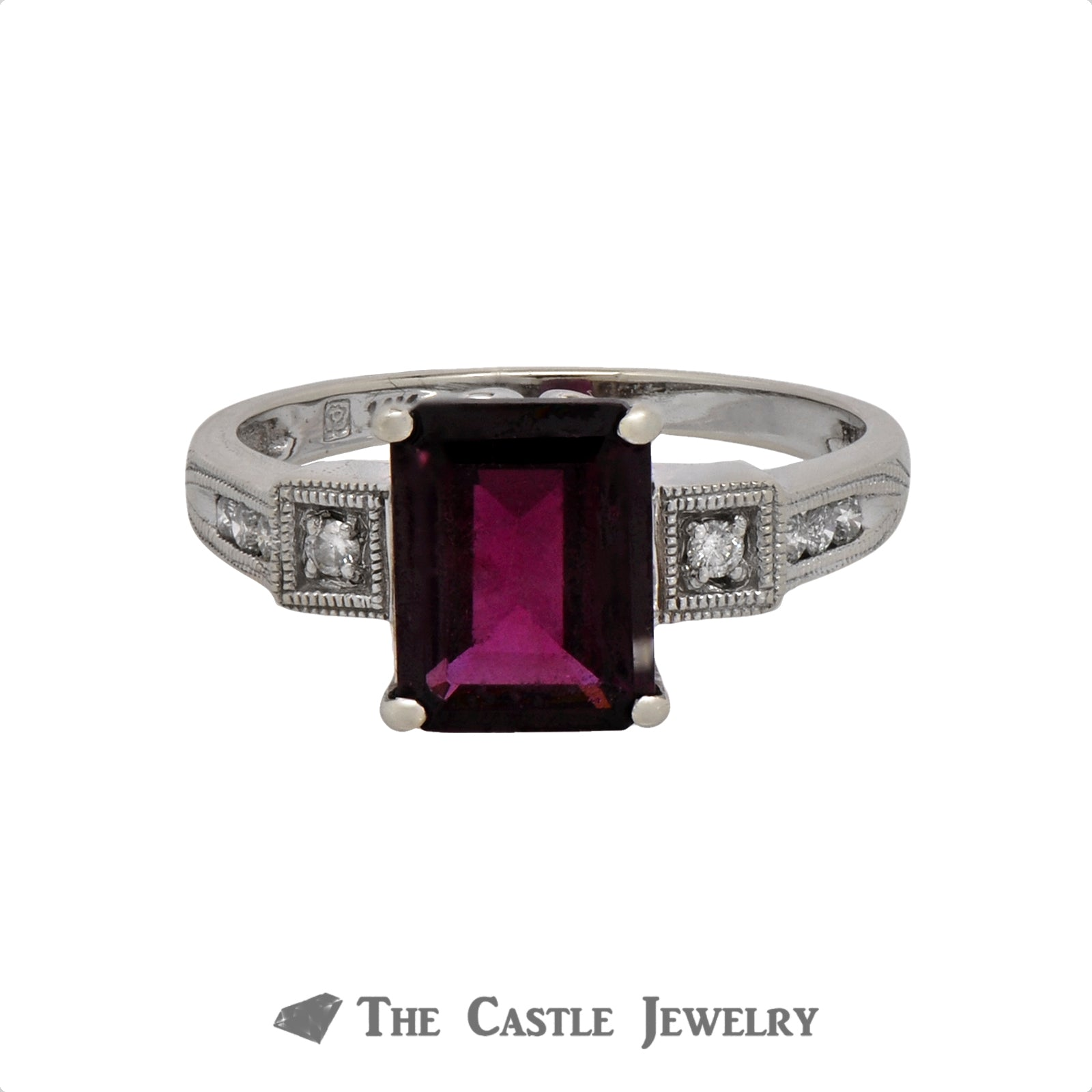 Emerald Cut Rhodolite Garnet Ring with .12cttw Diamond Accents in 14k White Gold