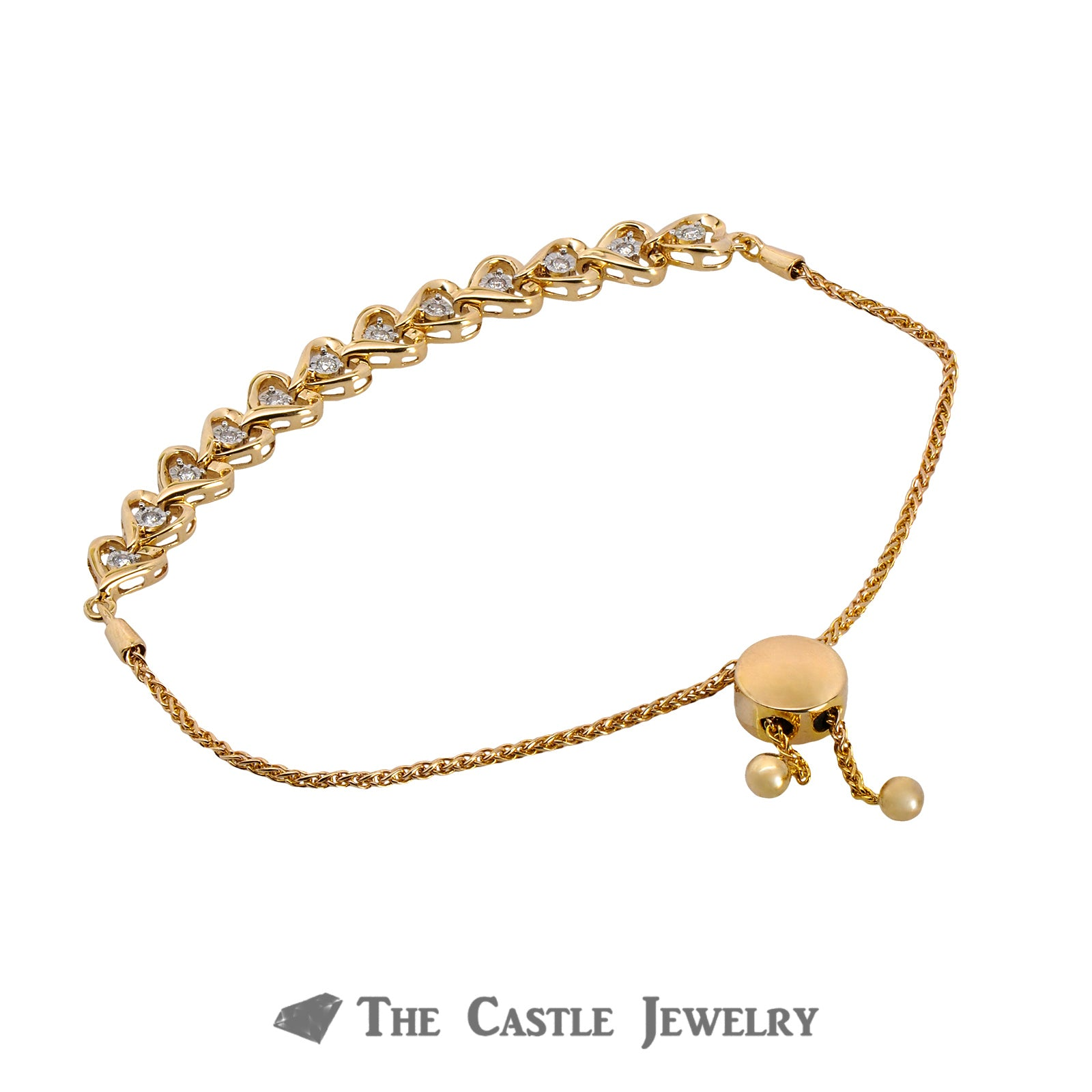 Adjustable Diamond Heart Design Bracelet  Crafted in 10K Yellow Gold