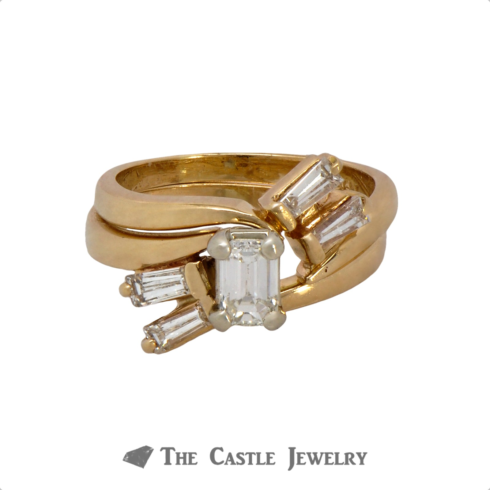 Emerald Cut Diamond Bridal Set with Baguette Diamond Accented Matching Band in 14k Yellow Gold