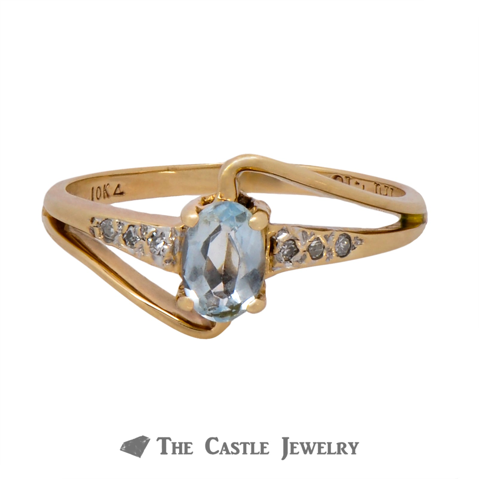 Oval Cut Aquamarine Ring with Diamond Accents in Curved Bypass Setting