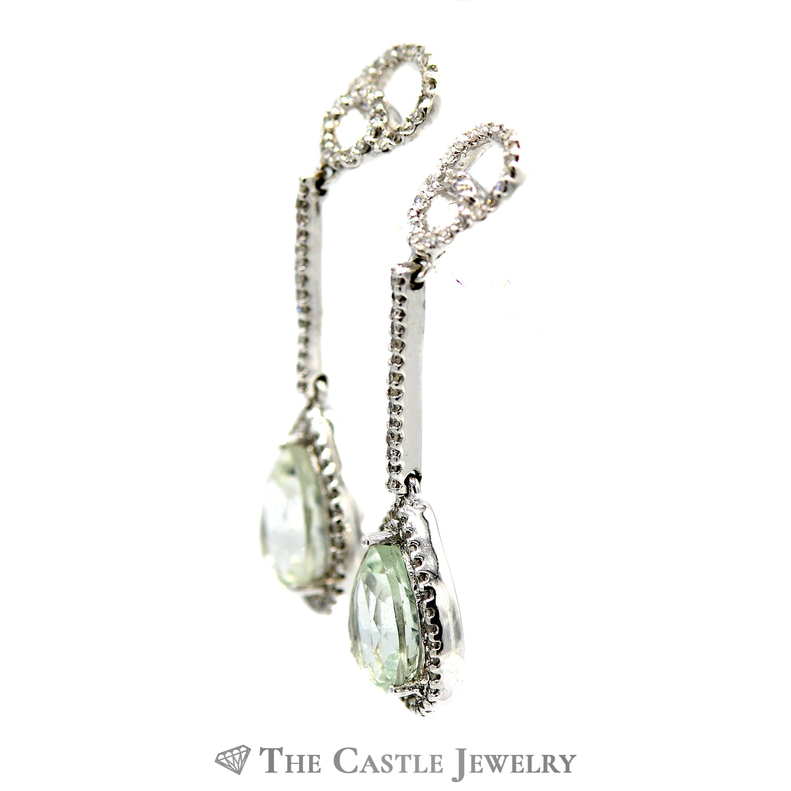 Green Quartz and Diamond Dangle Earrings-1
