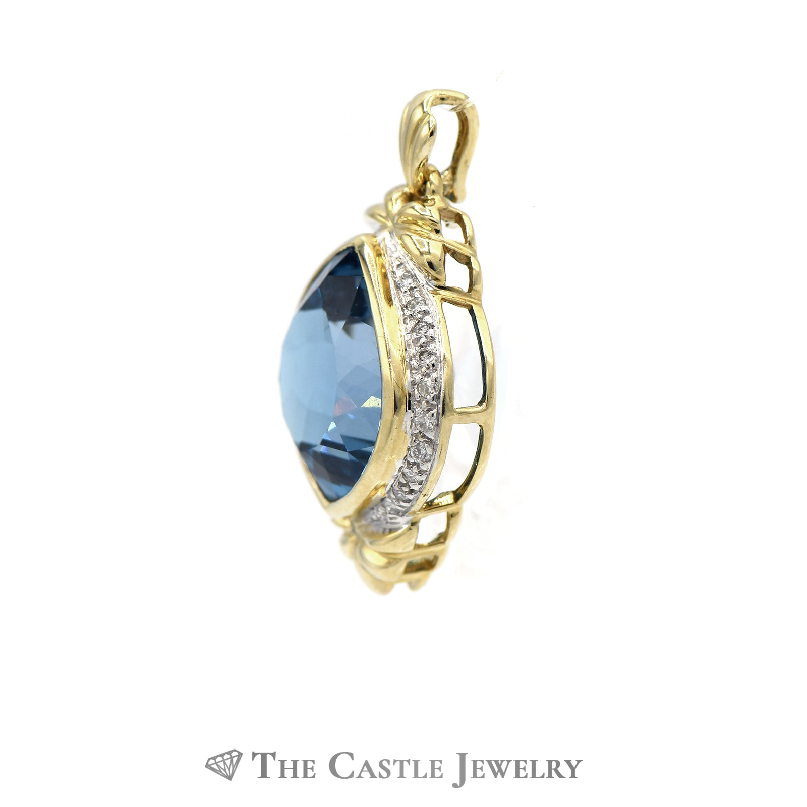 Fancy Cut Topaz and Diamond Pendant in 14KT Yellow Gold-2