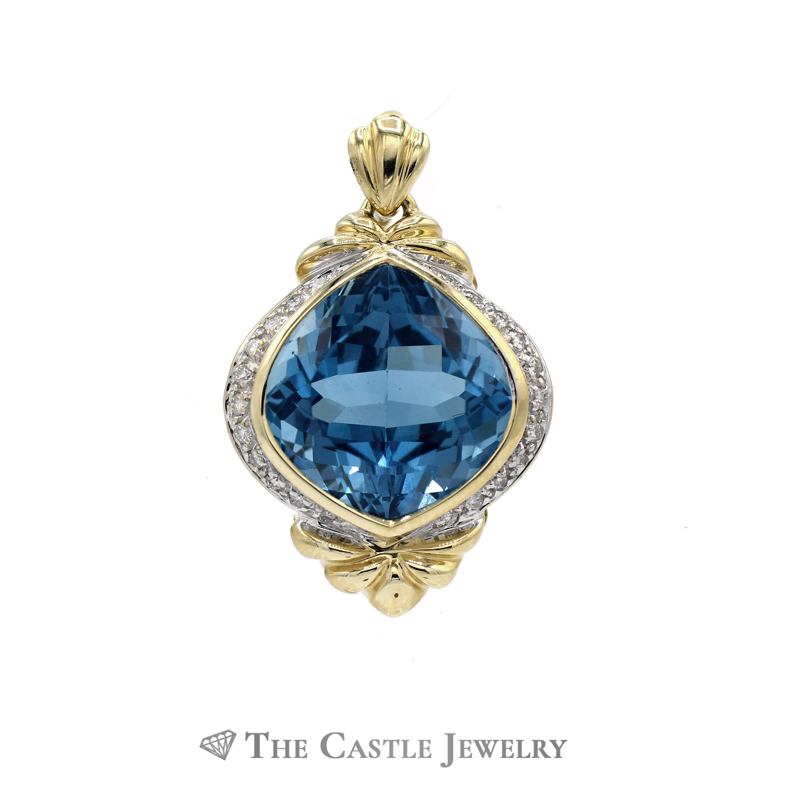 Fancy Cut Topaz and Diamond Pendant in 14KT Yellow Gold