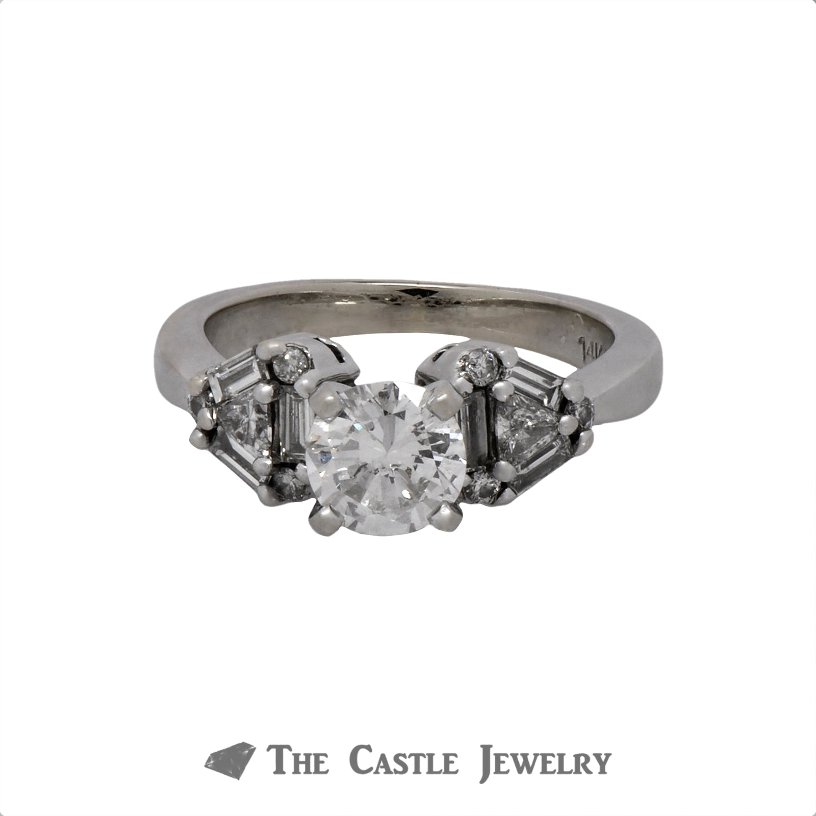 1.25cttw Diamond Engagement Ring with Baguette, Trillion and Round Cut Accents in 14k White Gold