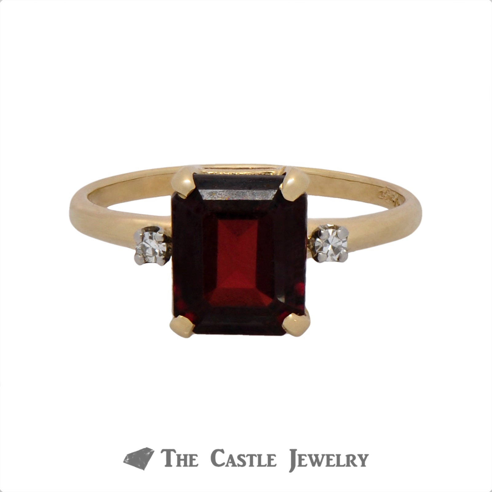 Emerald Cut Garnet Ring with Diamond Accents in 14K Gold
