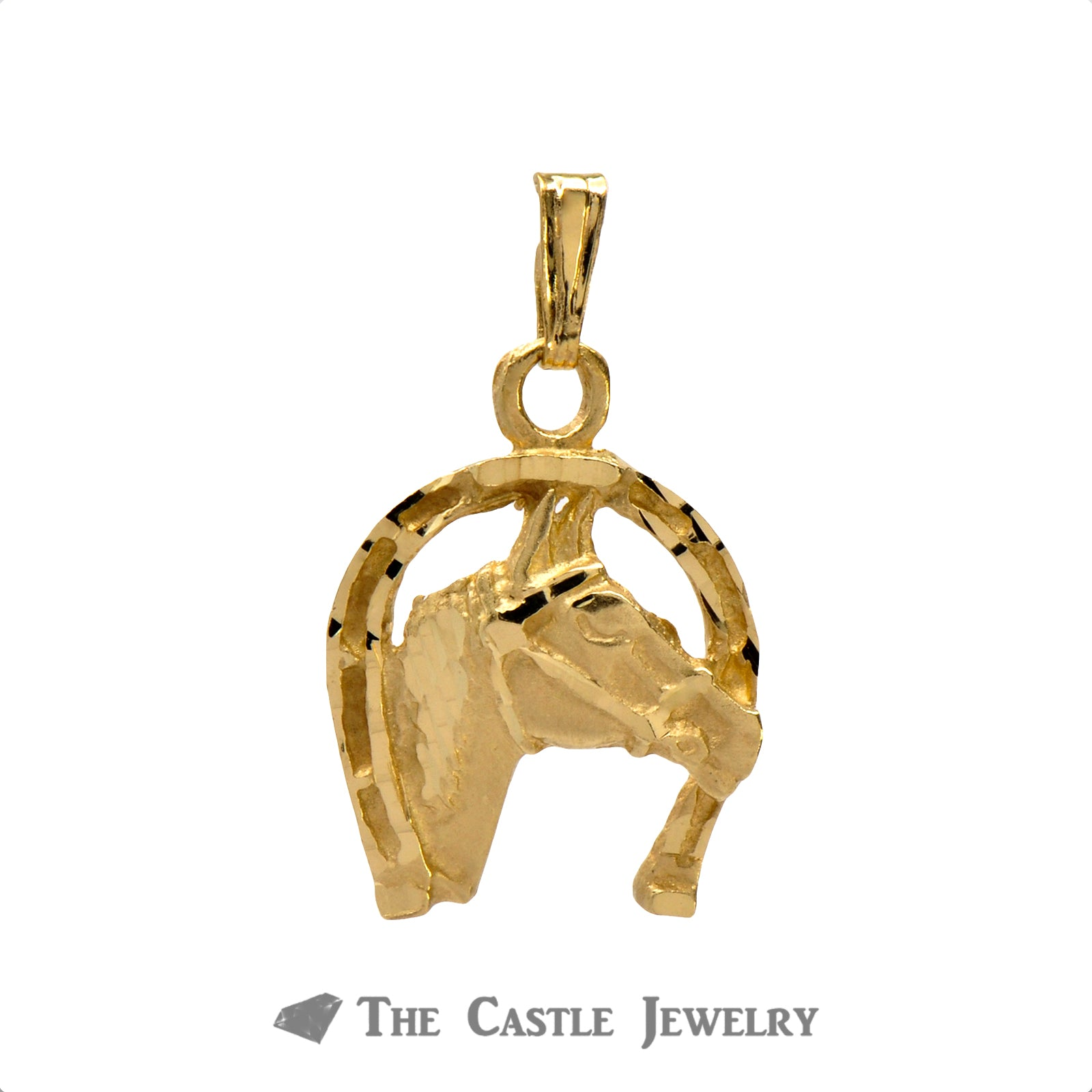 Charming Horseshoe Horse Head Pendant in 14K Yellow Gold