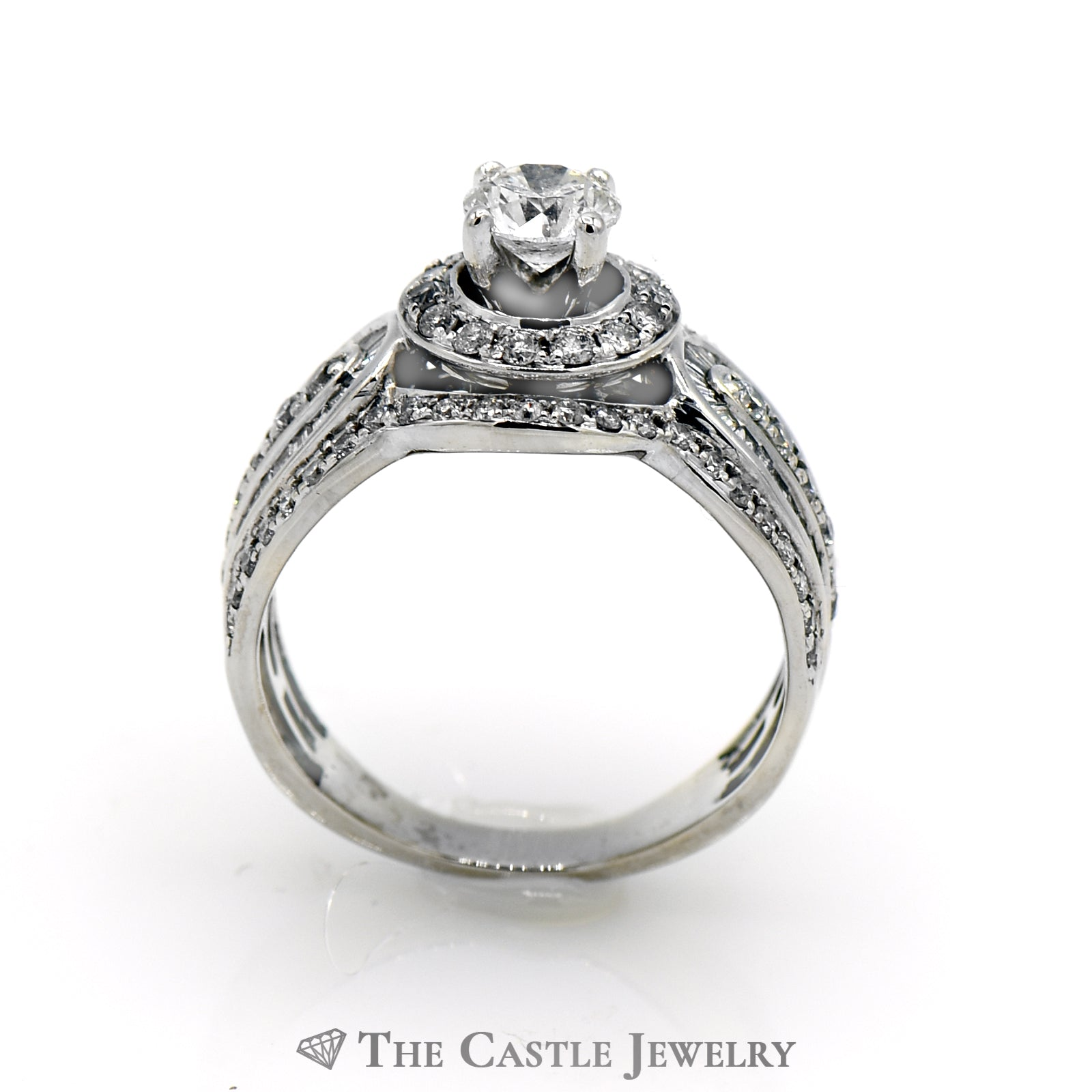 1.25cttw Diamond Engagement Ring with .50ct Round Brilliant Cut Center in 14K White Gold-1