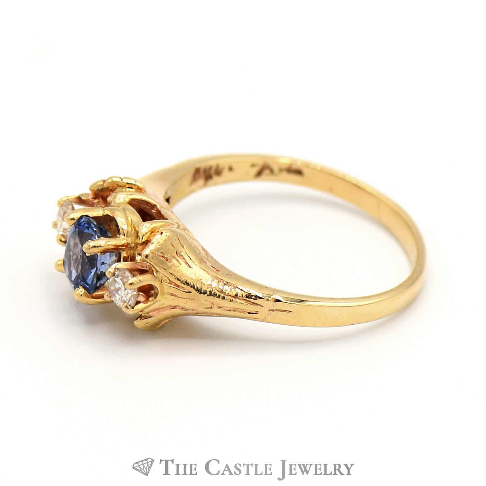 Light Blue Oval Sapphire Ring with Hints of Purple in 14K Gold