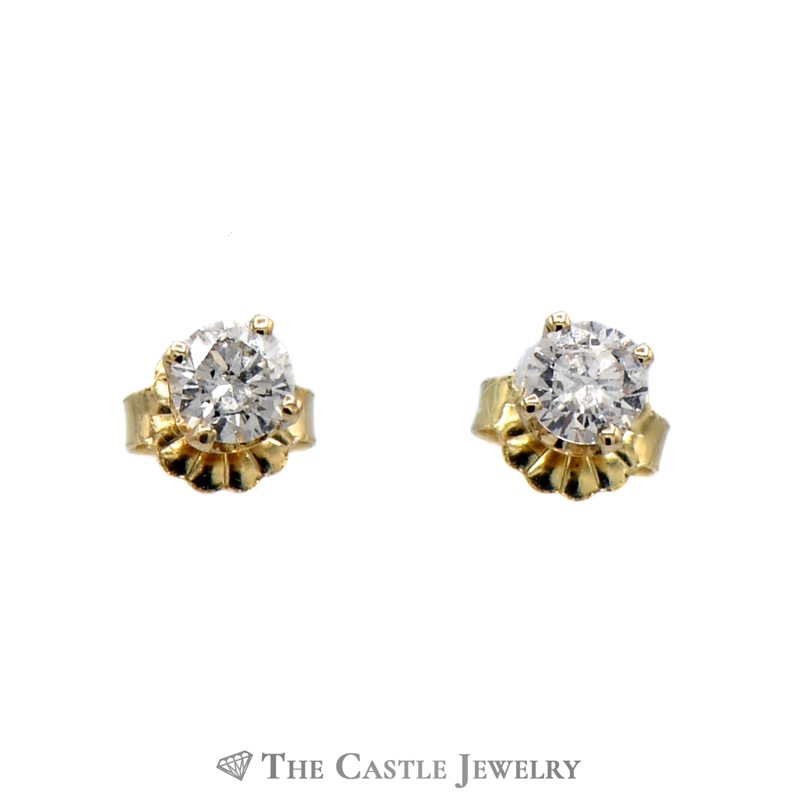 Diamond Stud Earrings .50cttw Round Brilliant Cut 14K Yellow Gold