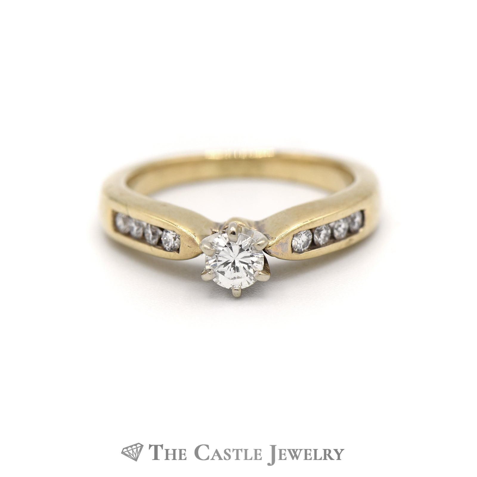 Round Brilliant Cut Diamond Engagement Ring with Channel Set Round Diamond Sides
