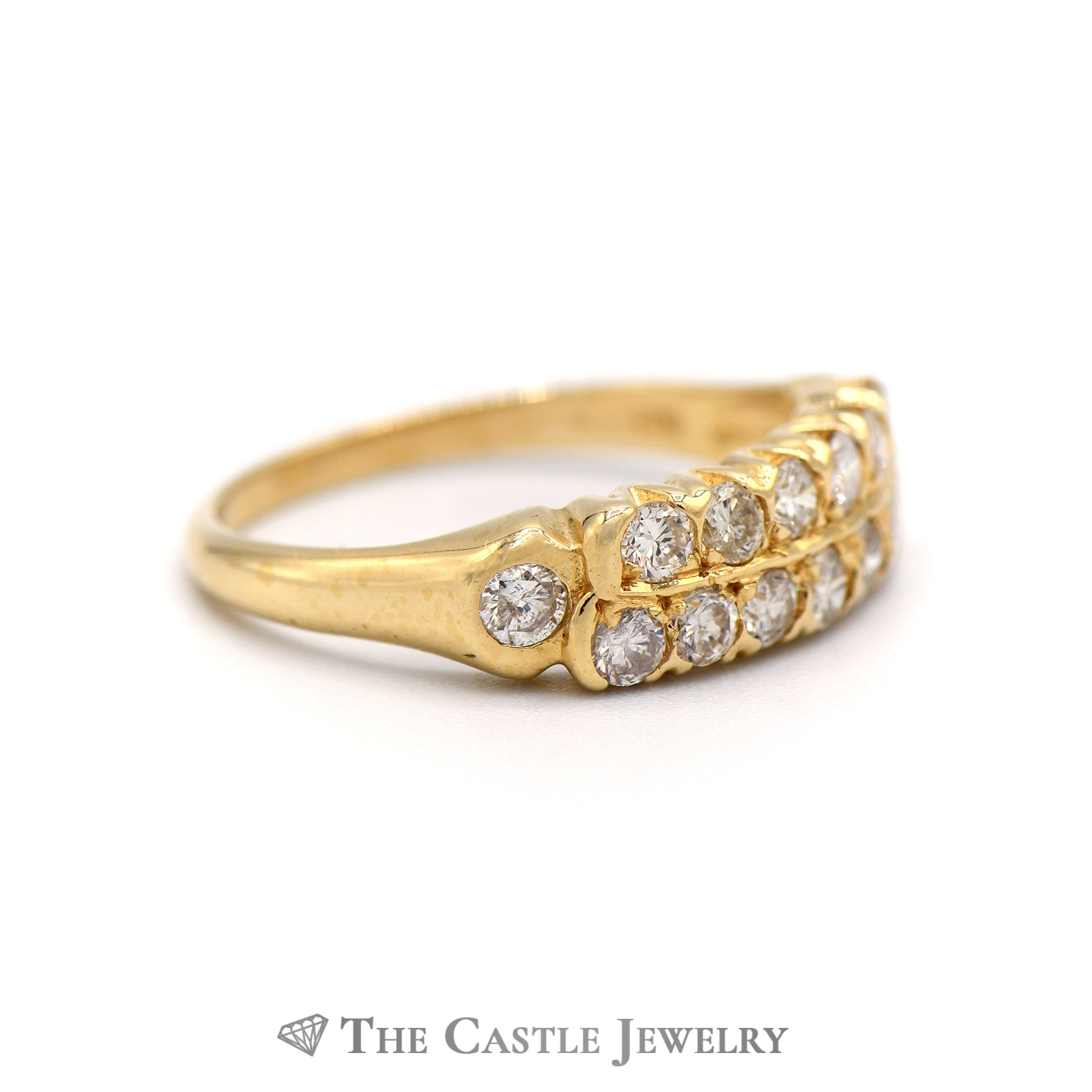 Double Row Round Diamond Ring with Single Diamond Accents on Side in 14K Gold-2