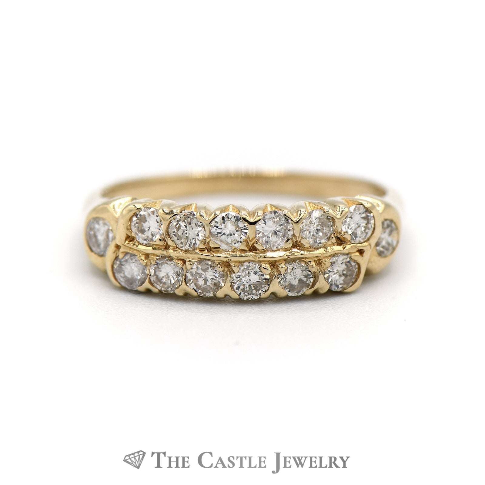 Double Row Round Diamond Ring with Single Diamond Accents on Side in 14K Gold