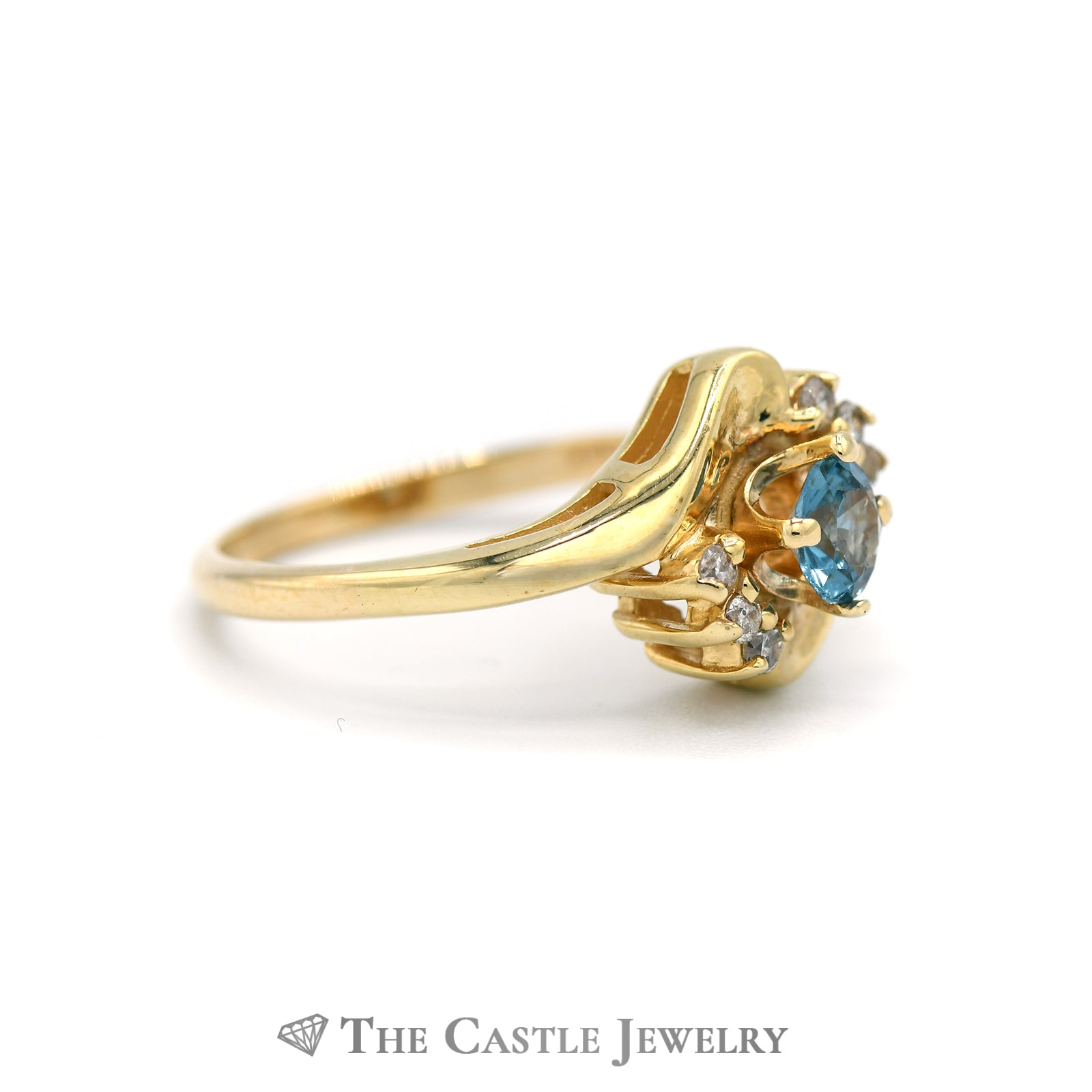 Lovely London Topaz Ring with Diamond Accents in 14K Yellow Gold-2