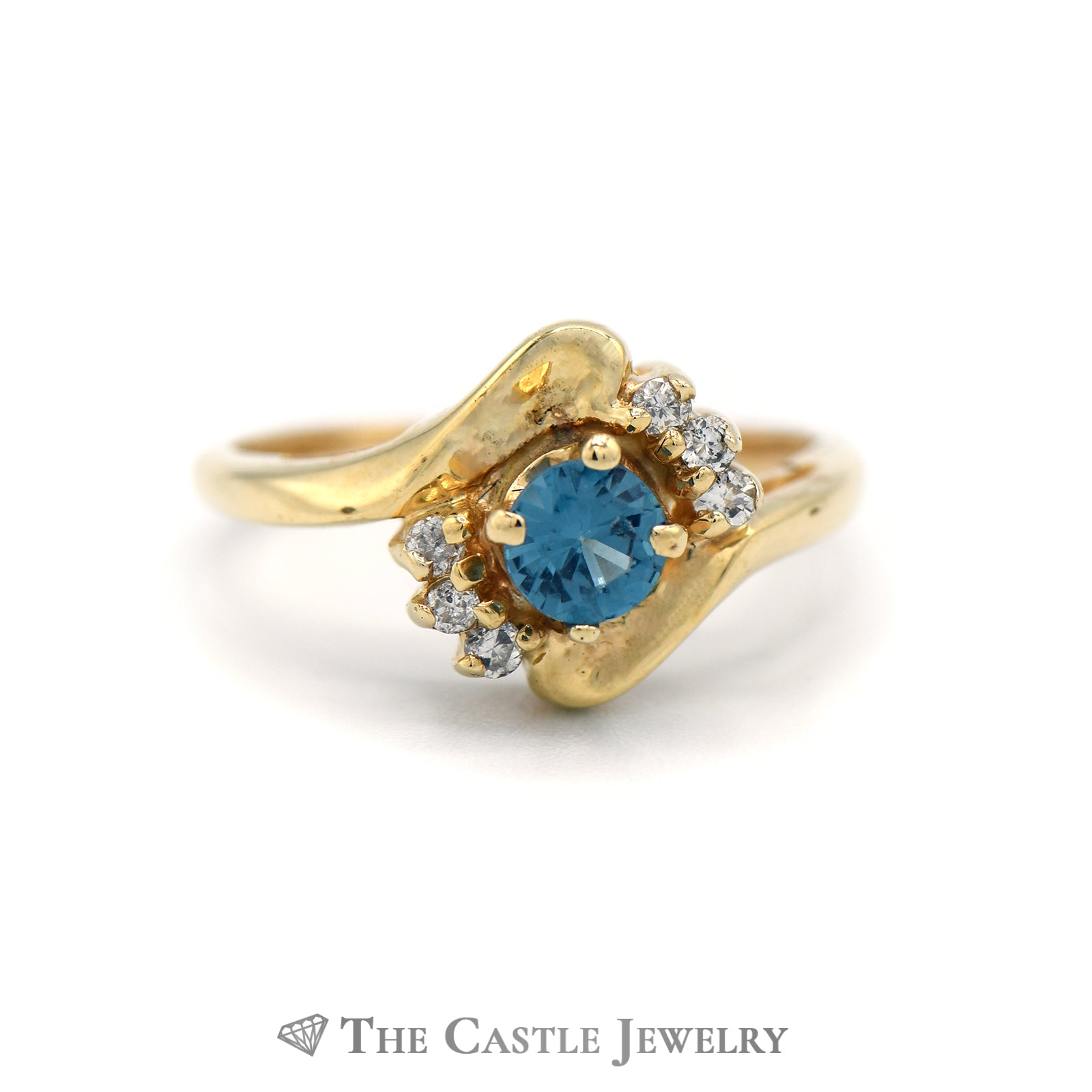 Lovely London Topaz Ring with Diamond Accents in 14K Yellow Gold