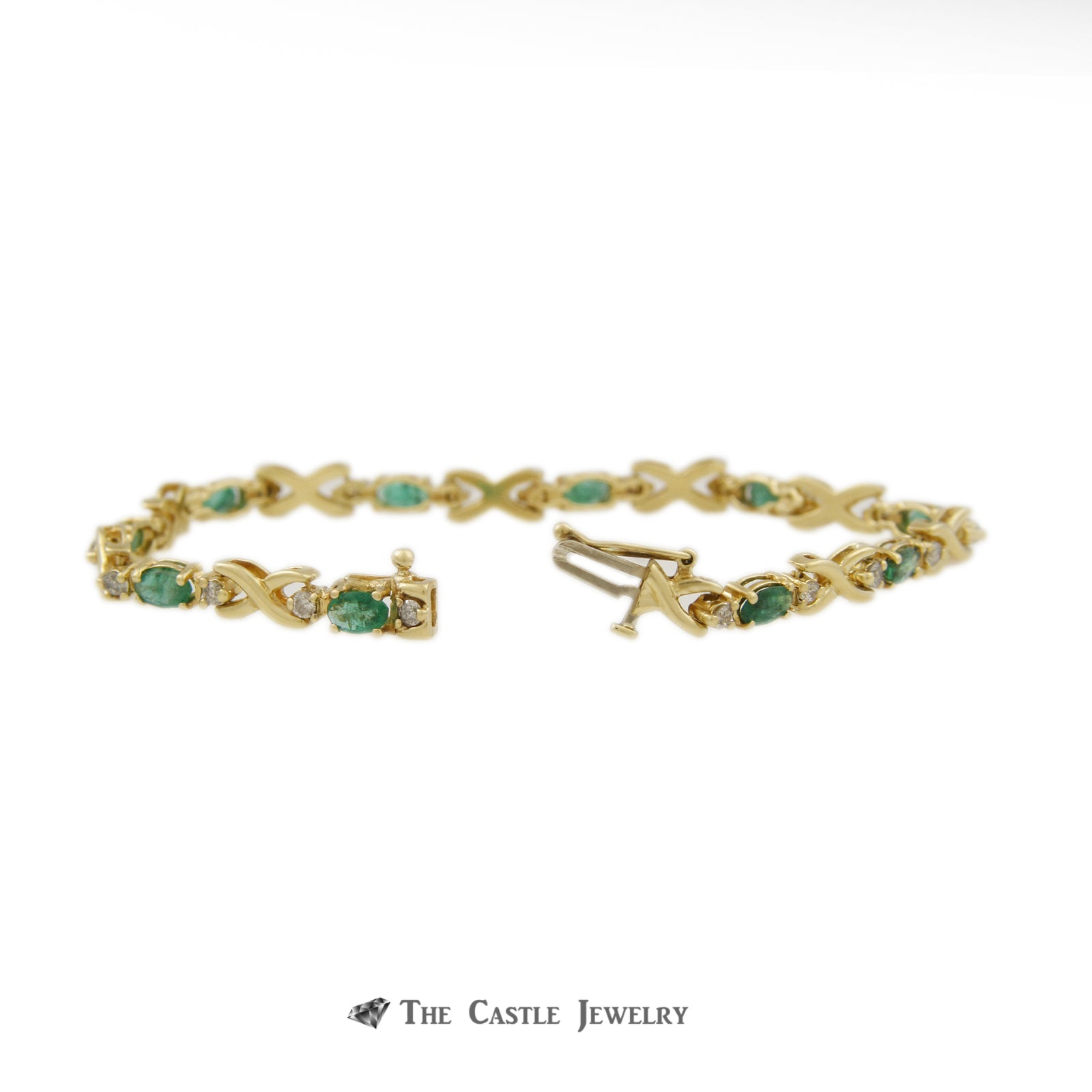 Oval Emerald Bracelet with X Links & Diamond Accents in 14K Yellow Gold-1