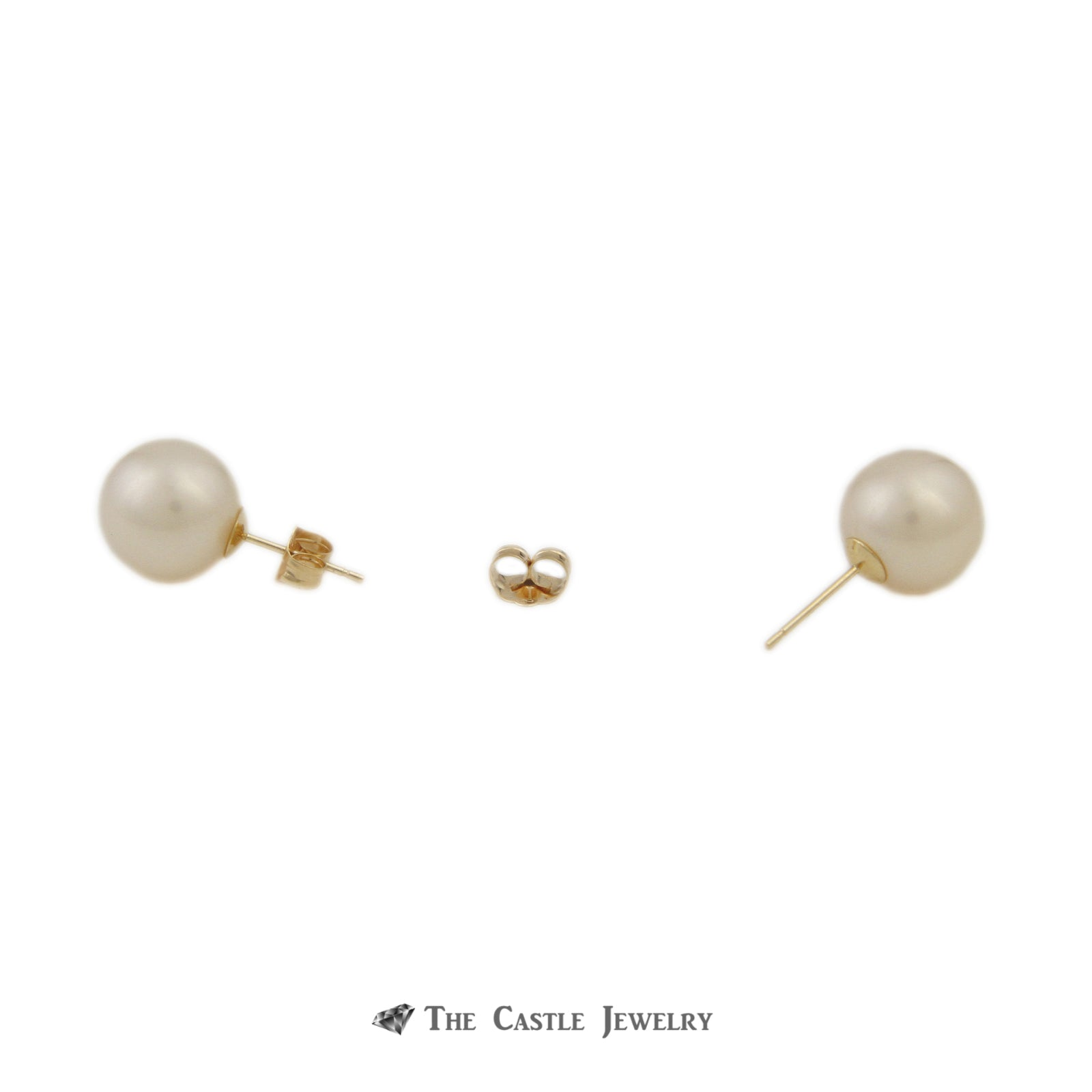 Pearl Earrings with 10-11mm Pearls in 14K Yellow Gold-1