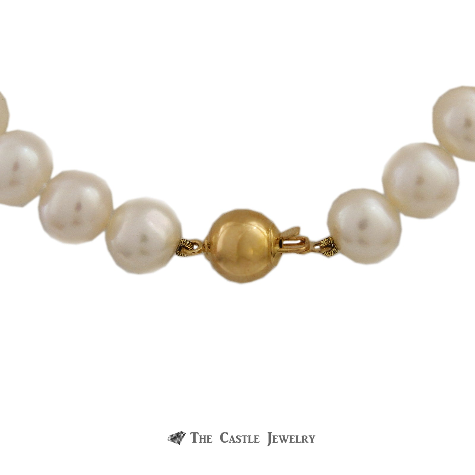 Pearl Necklace with 8.5-9mm Pearls 18 Inches w/ 14K Yellow Gold Clasp-1