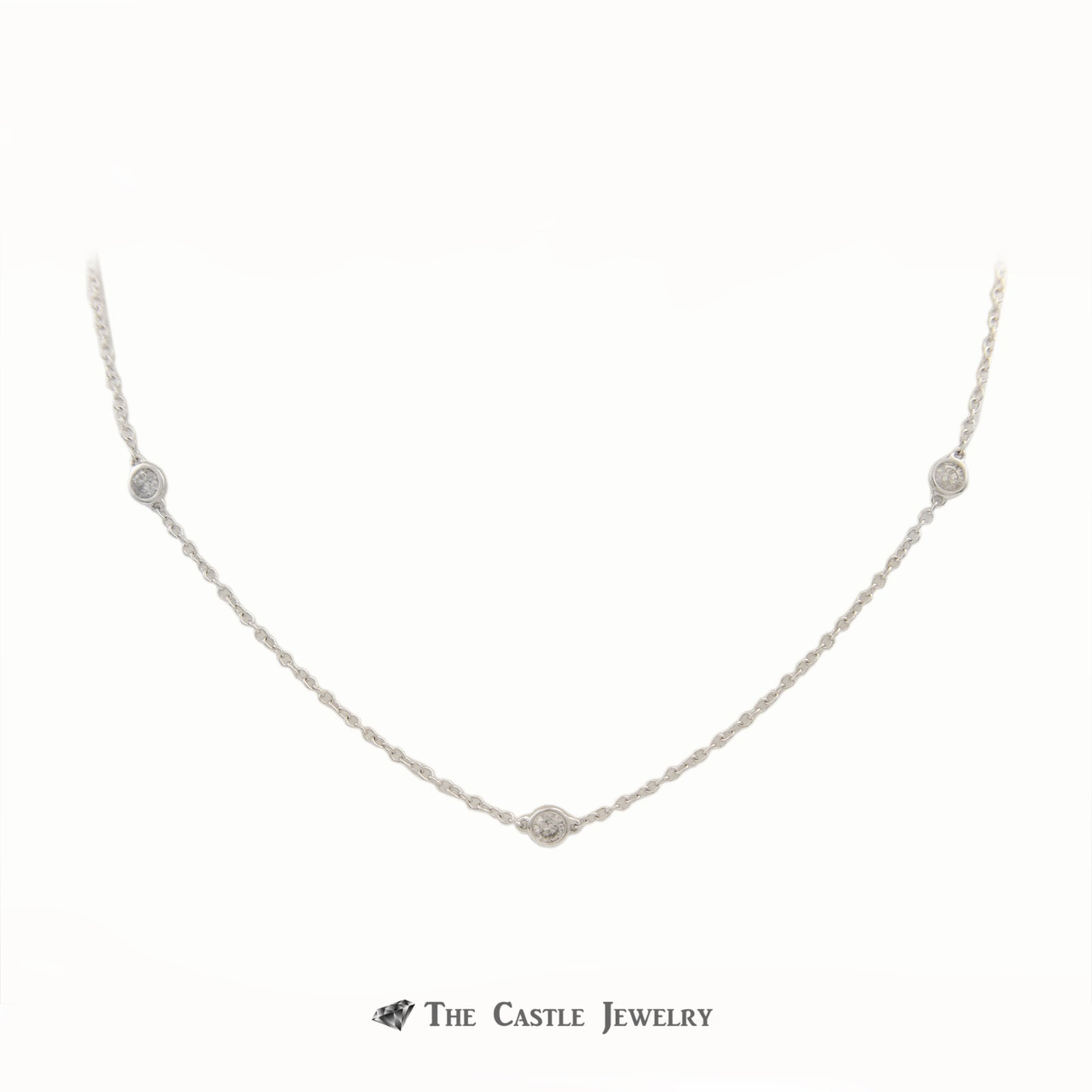 1/2cttw Diamond Station Necklace w/ 10 Round Diamonds 18 Inches in White Gold-1
