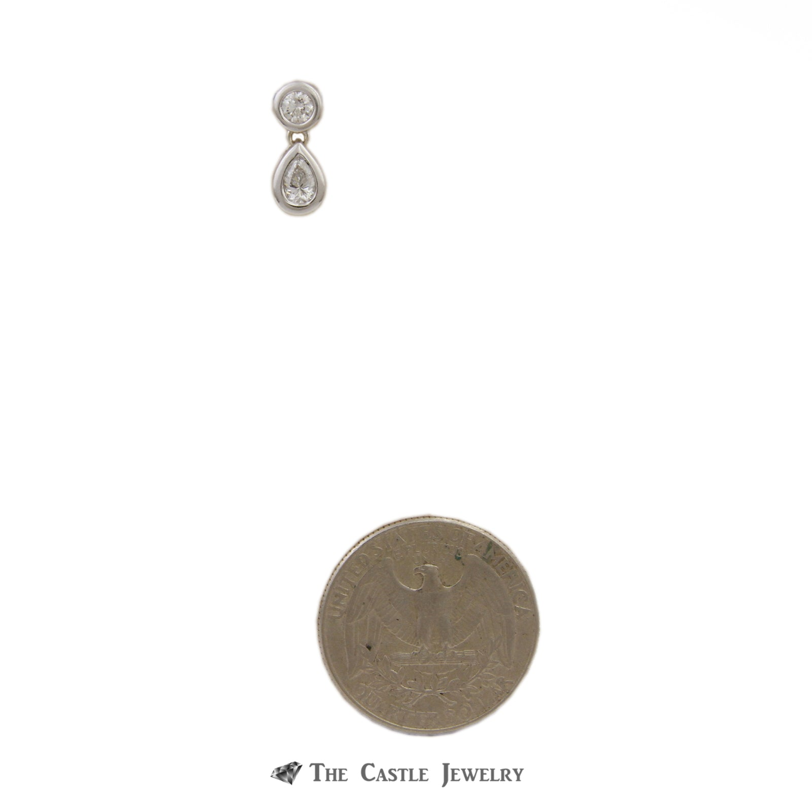 Bezel Set .38cttw Diamond Pendant with Round & Pear Shaped Diamonds Crafted-2