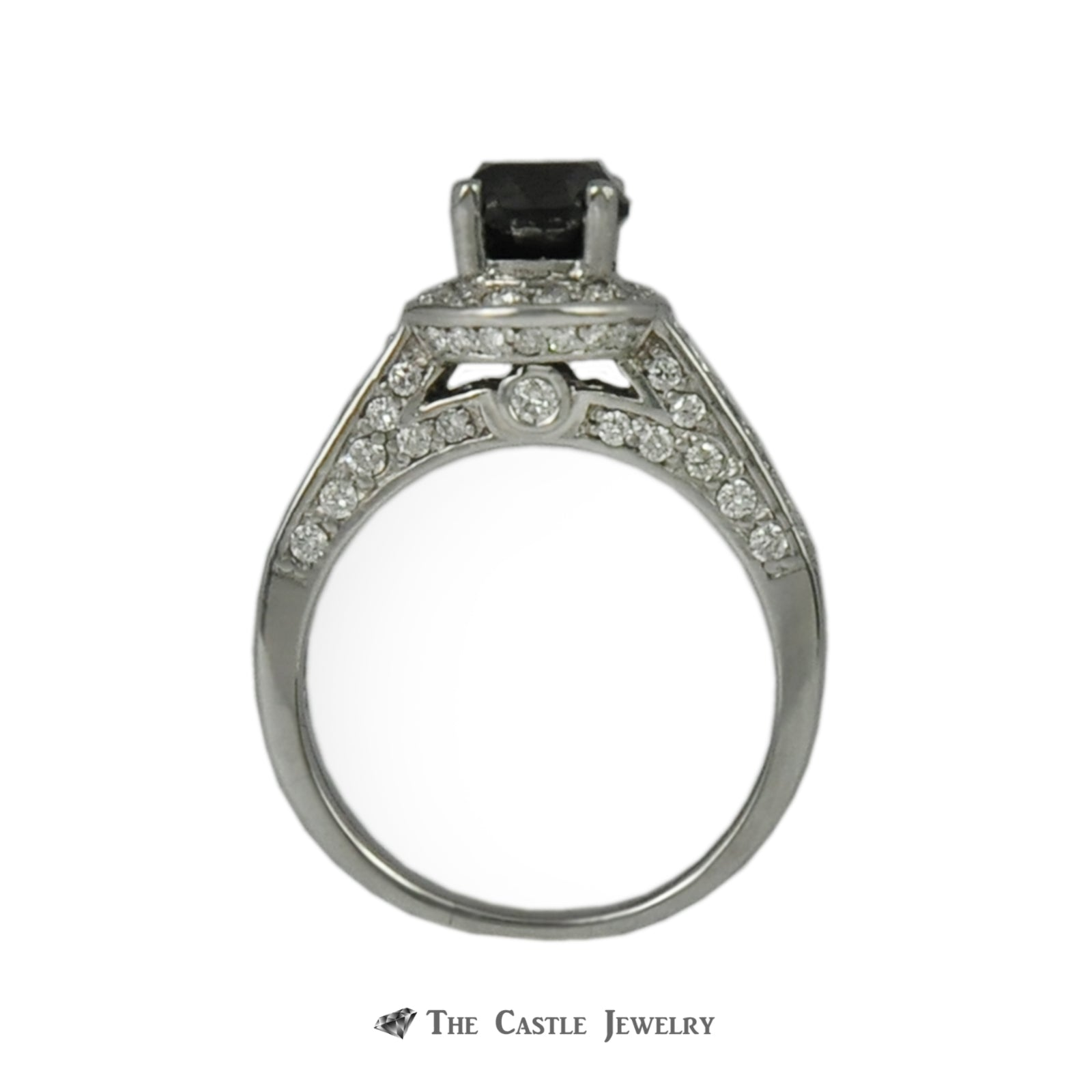 Black Diamond Engagement Ring w. Round Brilliant Diamond Halo, Sides, & Mounting-1