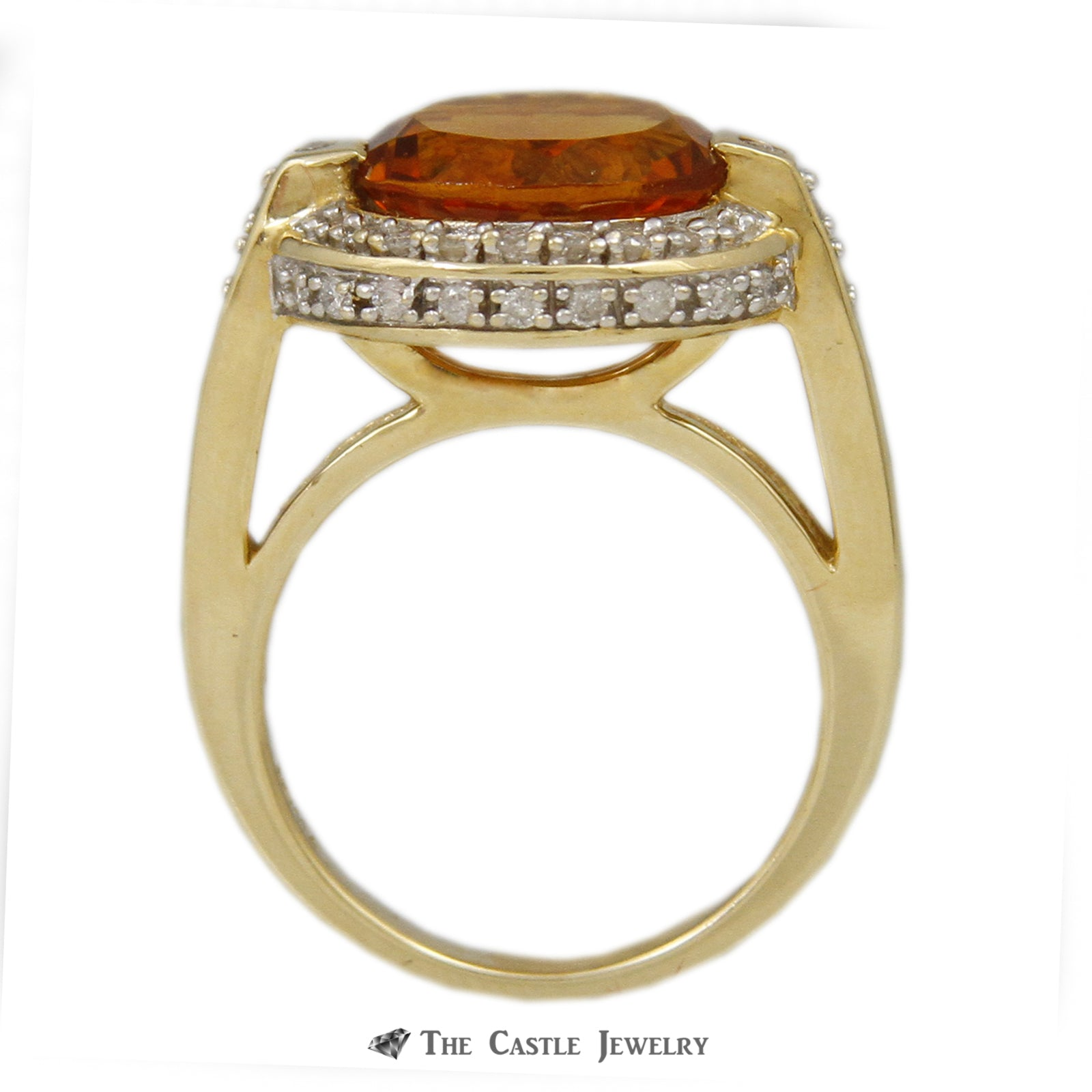 Oval Citrine Ring w/ 1/2cttw Diamond Bezel & Cathedral Mounting in 14k Yellow Gold-1