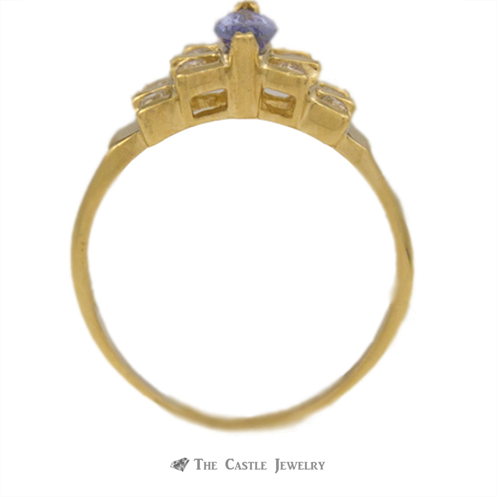 Marquise Tanzanite Ring in Bow Design Diamond Mounting 14K Gold-1