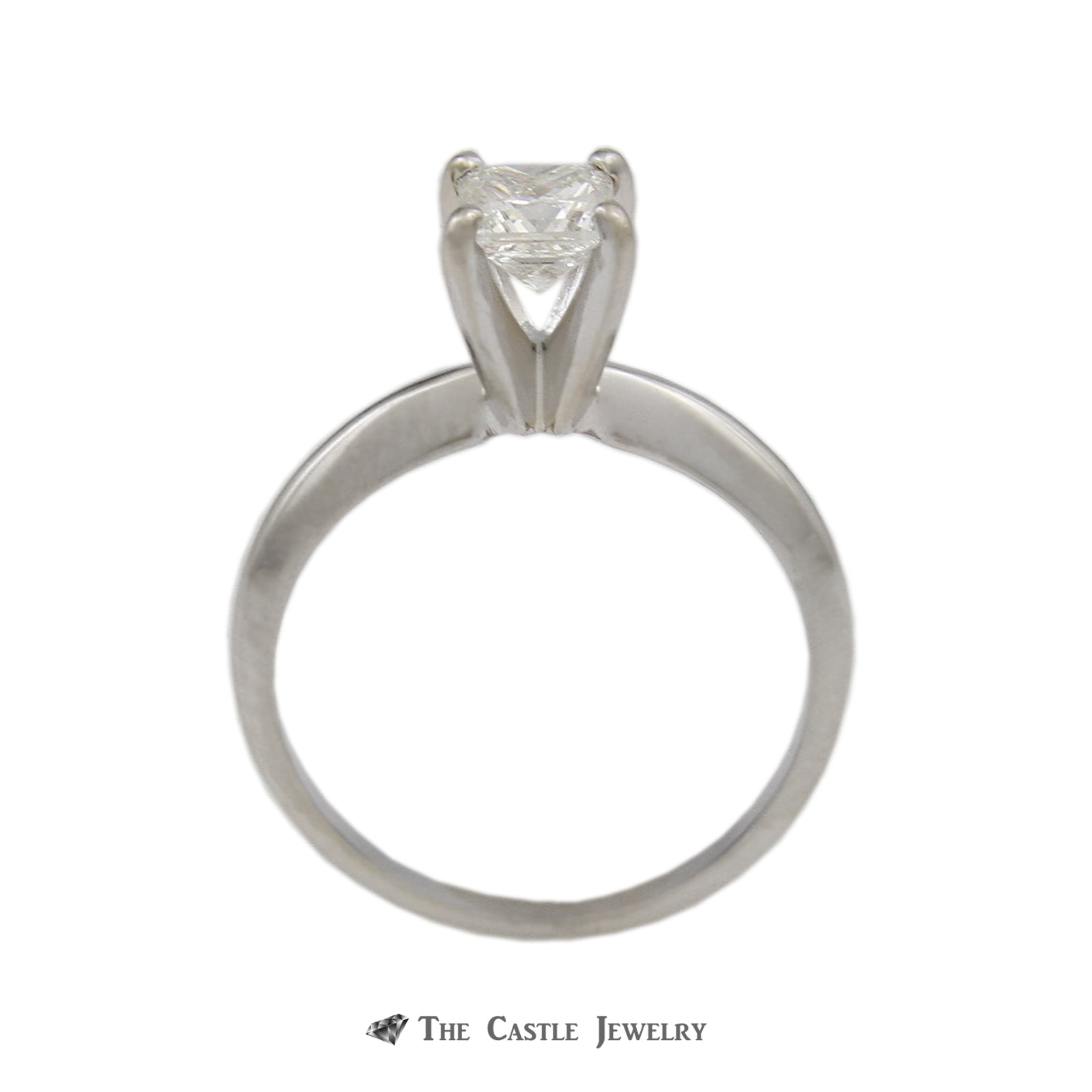 Princess Cut .50ct Diamond Solitaire Engagement Ring in 14k White Gold-1