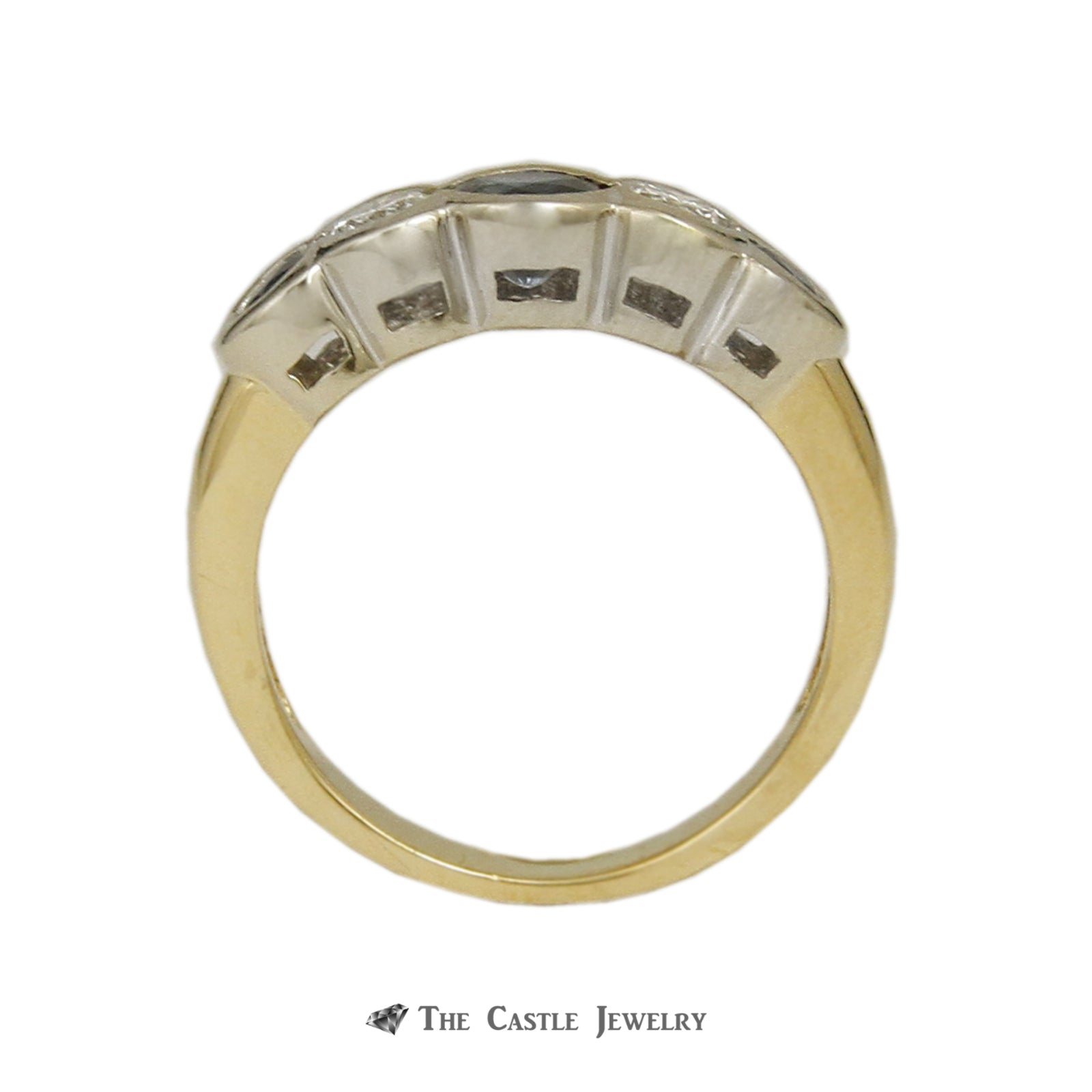 Unique Half Bezel Sapphire and .30cttw Diamond Band in 14K Yellow Gold-1