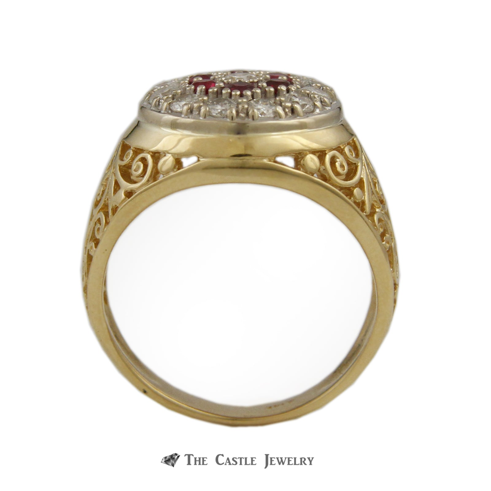 Gent's Round Ruby & .75cttw Diamond Kentucky Cluster Ring w/ Scroll Design Sides-1