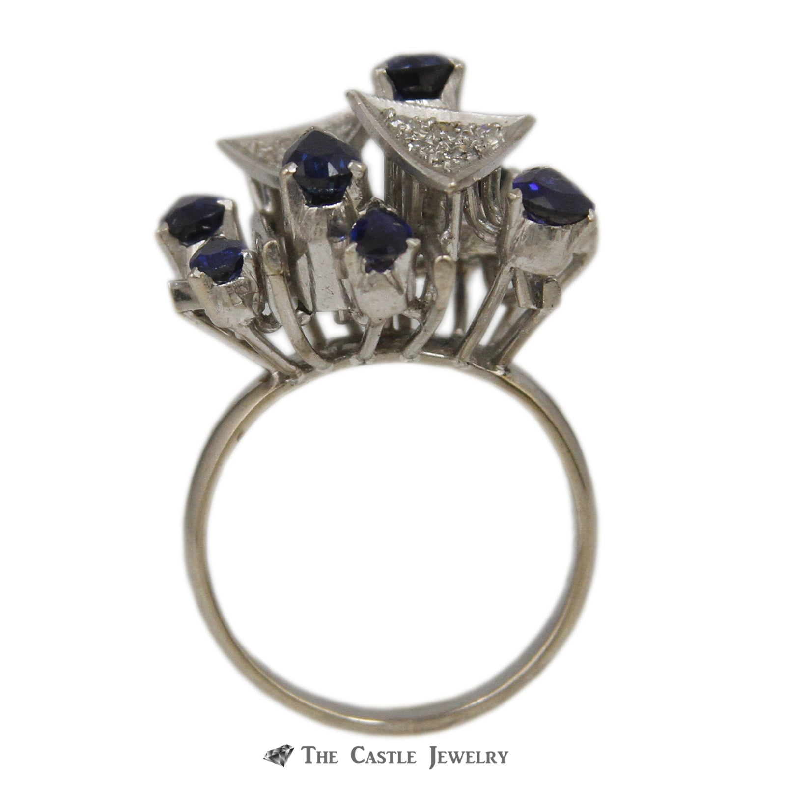 Art Deco Pave Diamond Clusters Accented with Pear Shaped Sapphires in White Gold-1