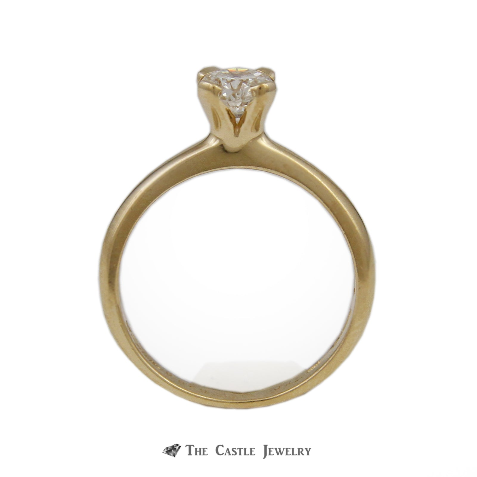 Unique Flanders Cut Diamond Solitaire Engagement Ring .80ct SI2-H in Gold-1