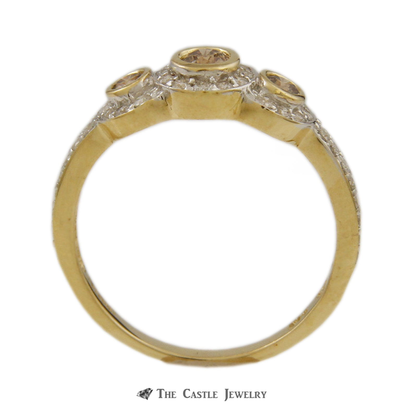 Bezel Set Champagne Diamond 3 Stone Ring with White Diamond Halos & Mounting in Yellow Gold-1