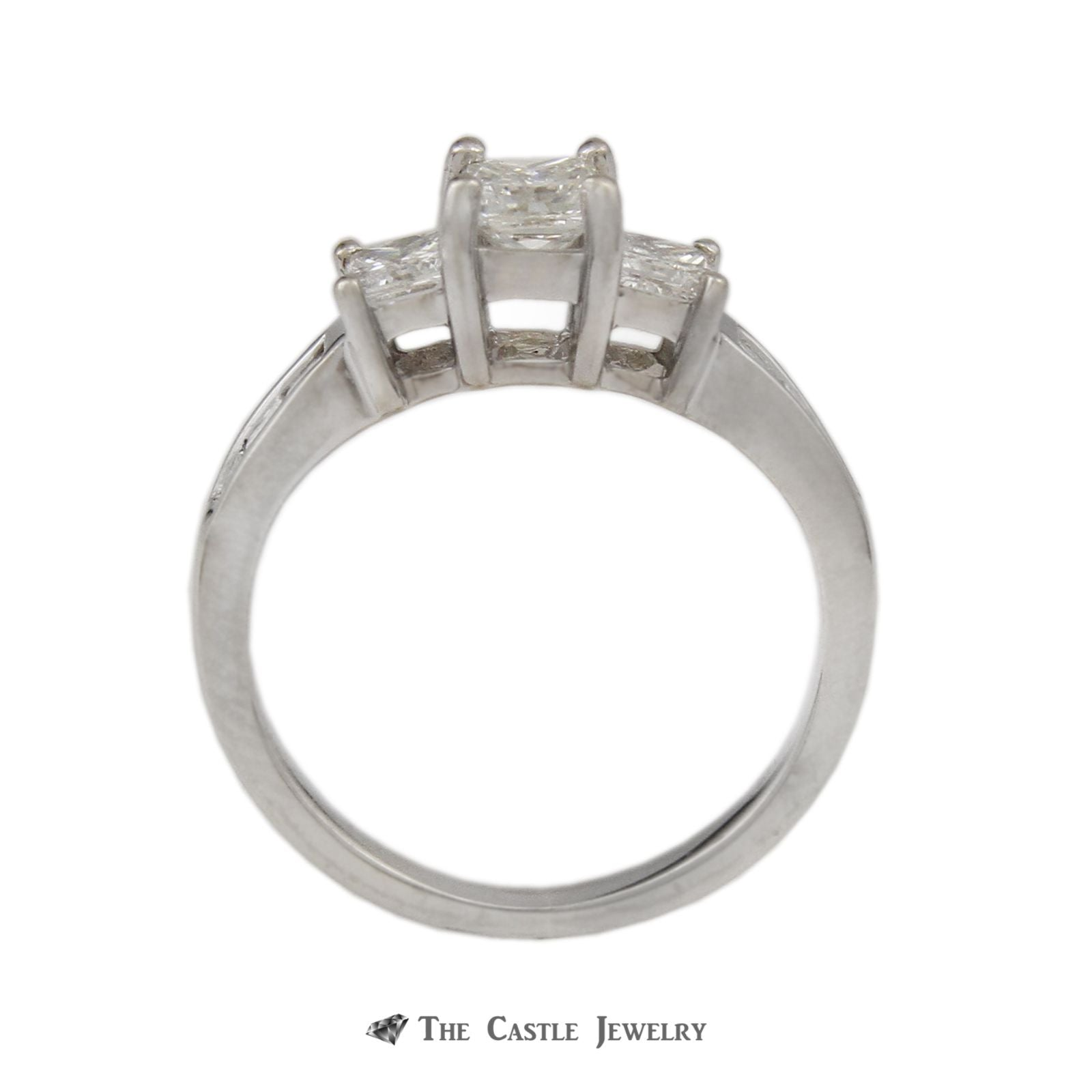 DeBeers Style Ring with 1cttw Princess Cut Channel Set Diamonds-1