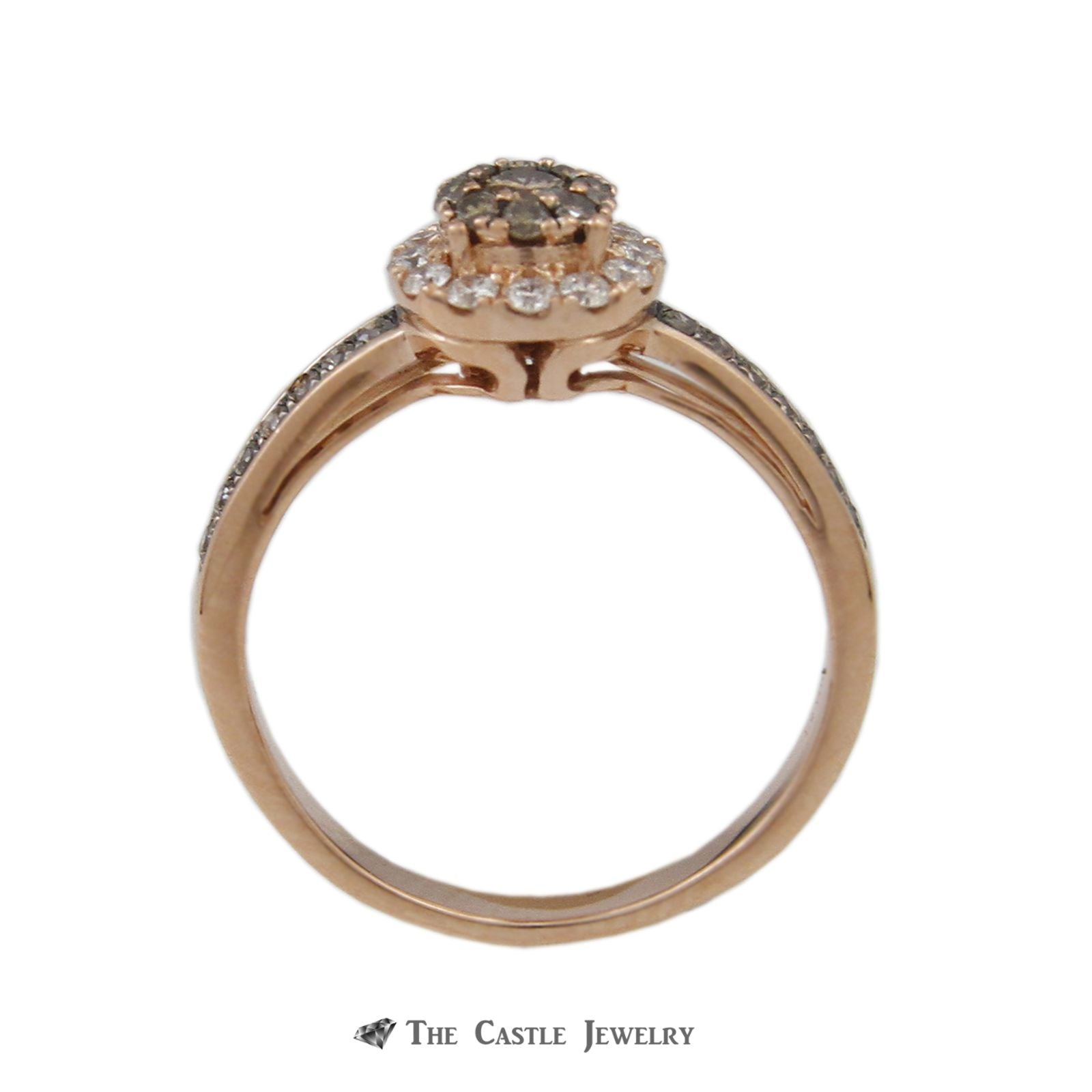 Le Vian Round Chocolate Diamond Ring w/ Round Brilliant Cut White Diamond Halo in 14k Rose Gold