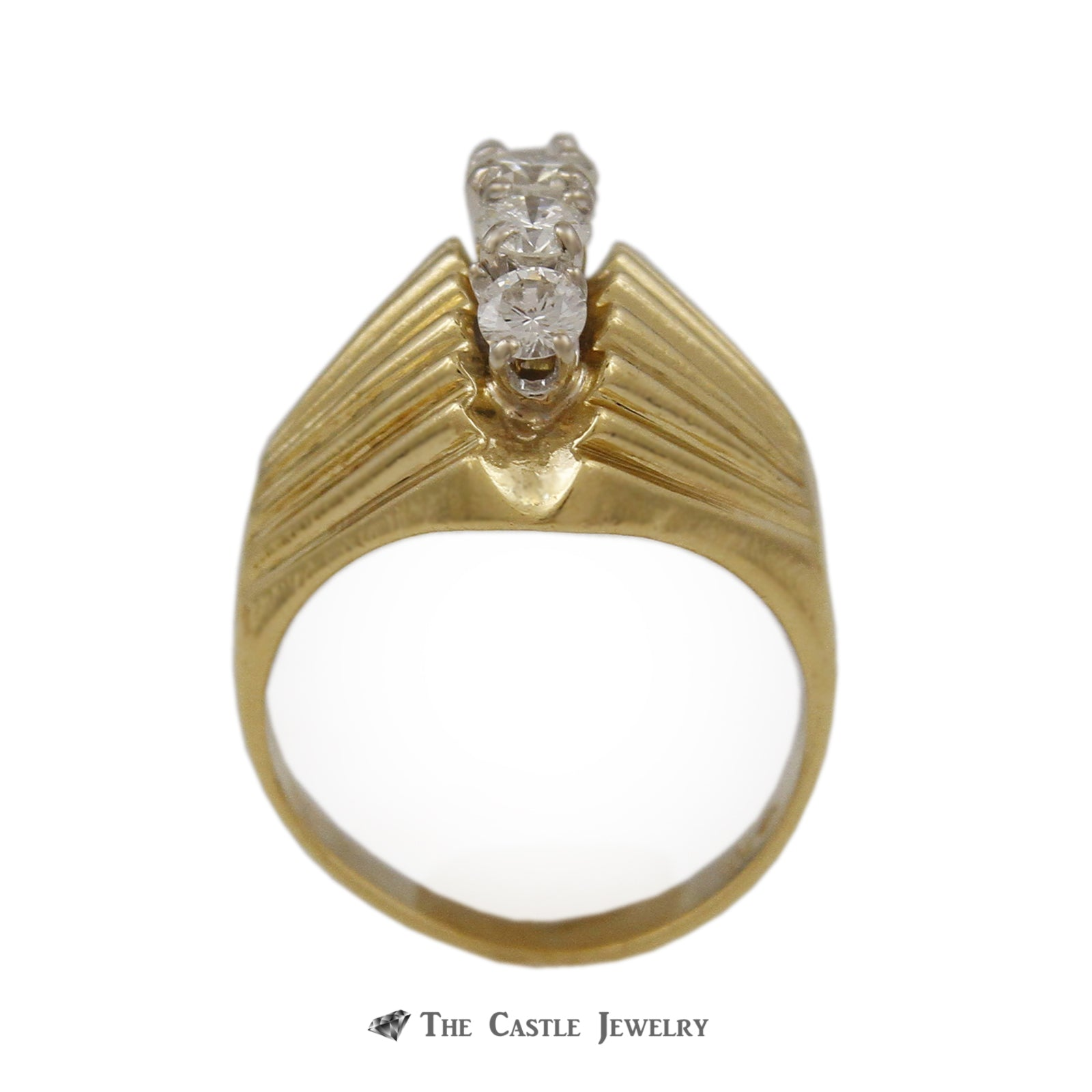 Domed Marquise Shaped .65cttw 5 Round Diamond Ring 18k Yellow Gold-1