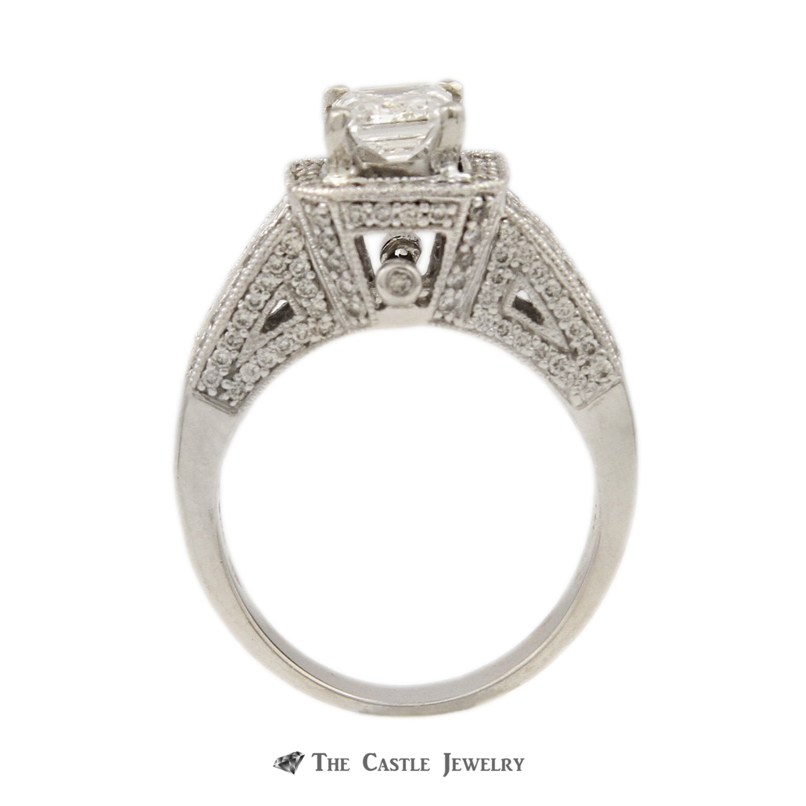 Emerald Cut Engagement Ring in Baguette & Round Diamond Semi Mount
