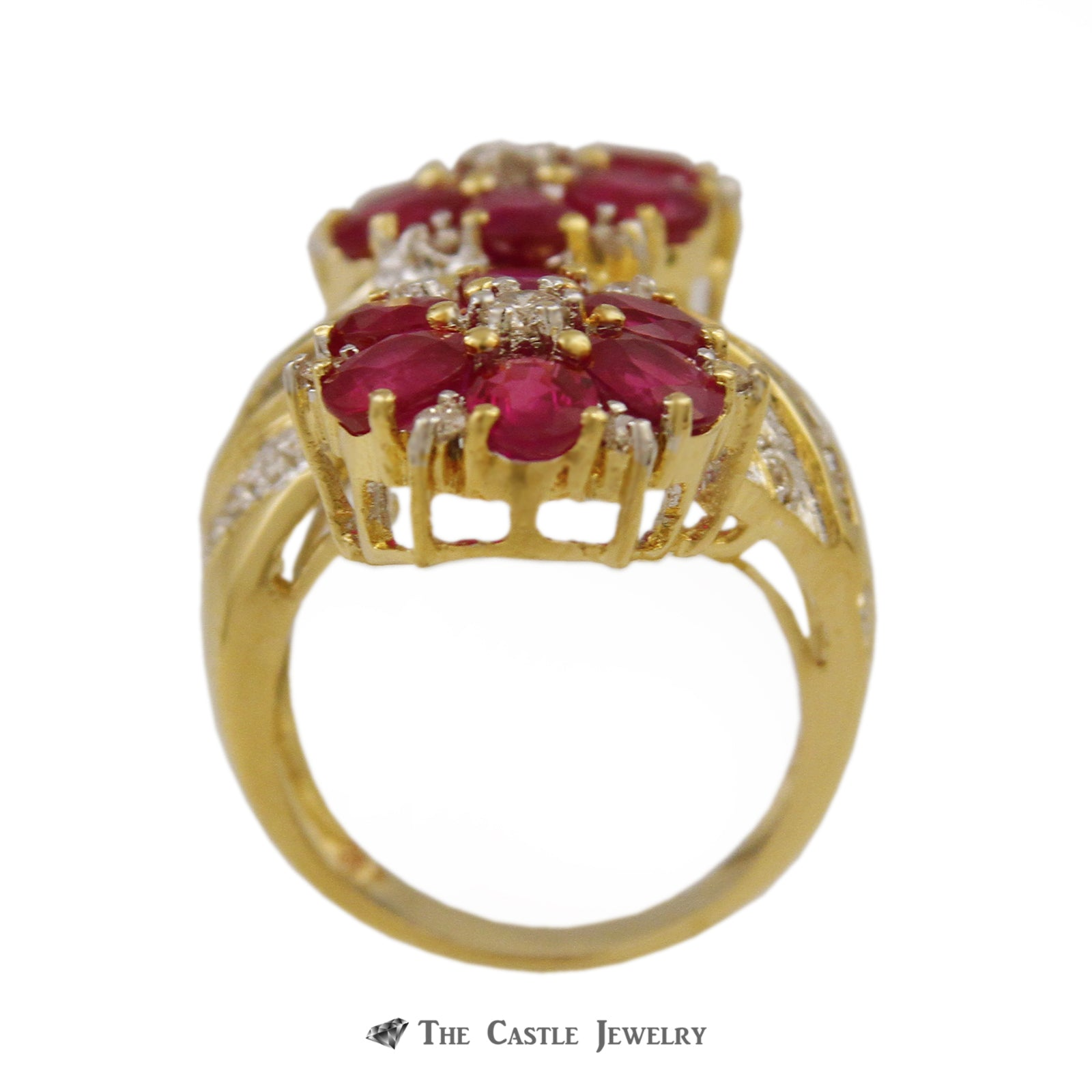 Antique Double Ruby Cluster Flower Ring Diamond Accents 18K Yellow Gold-1