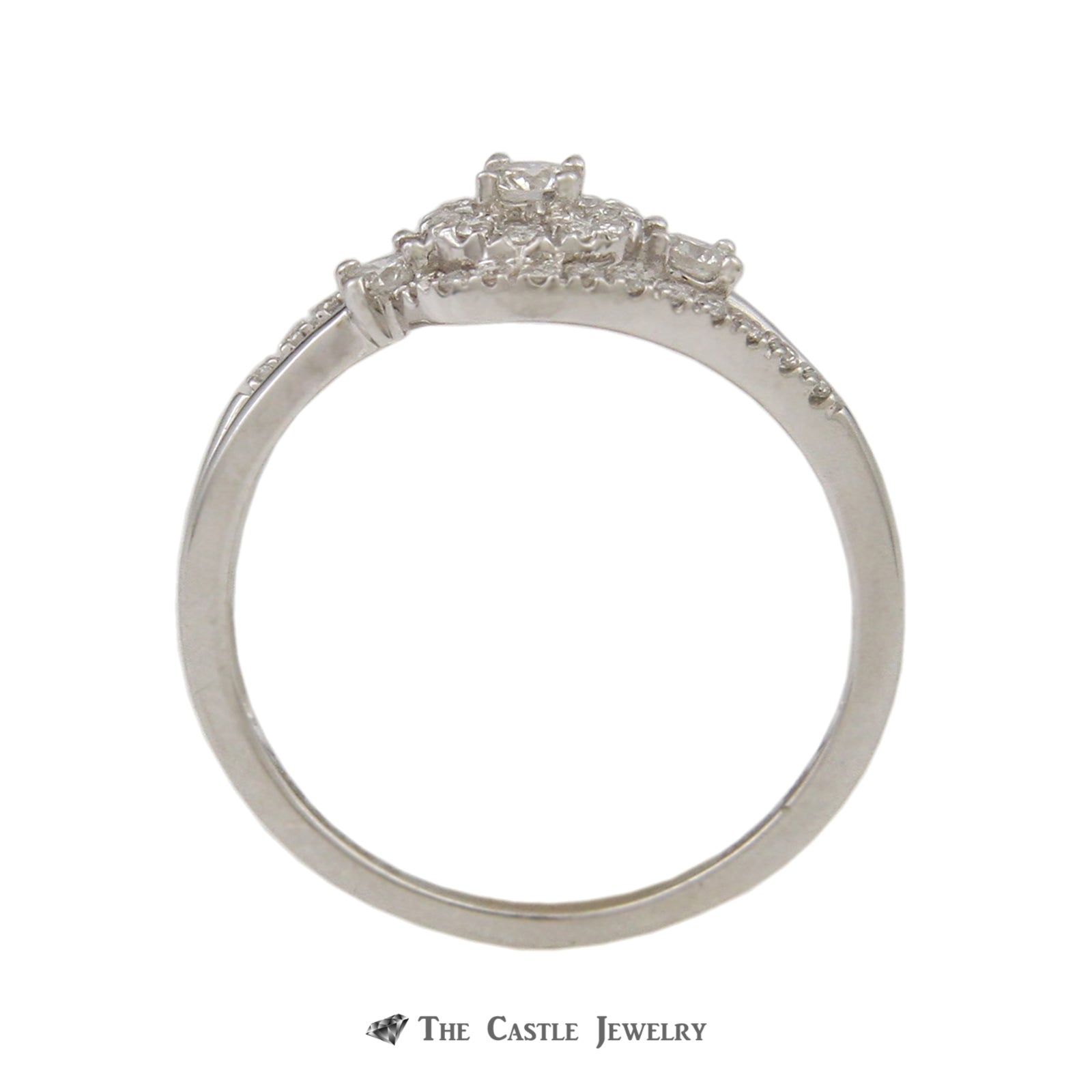 Crown Collection .30cttw Diamond Swirl Engagement Ring w/ Wedding Band in 10K-1
