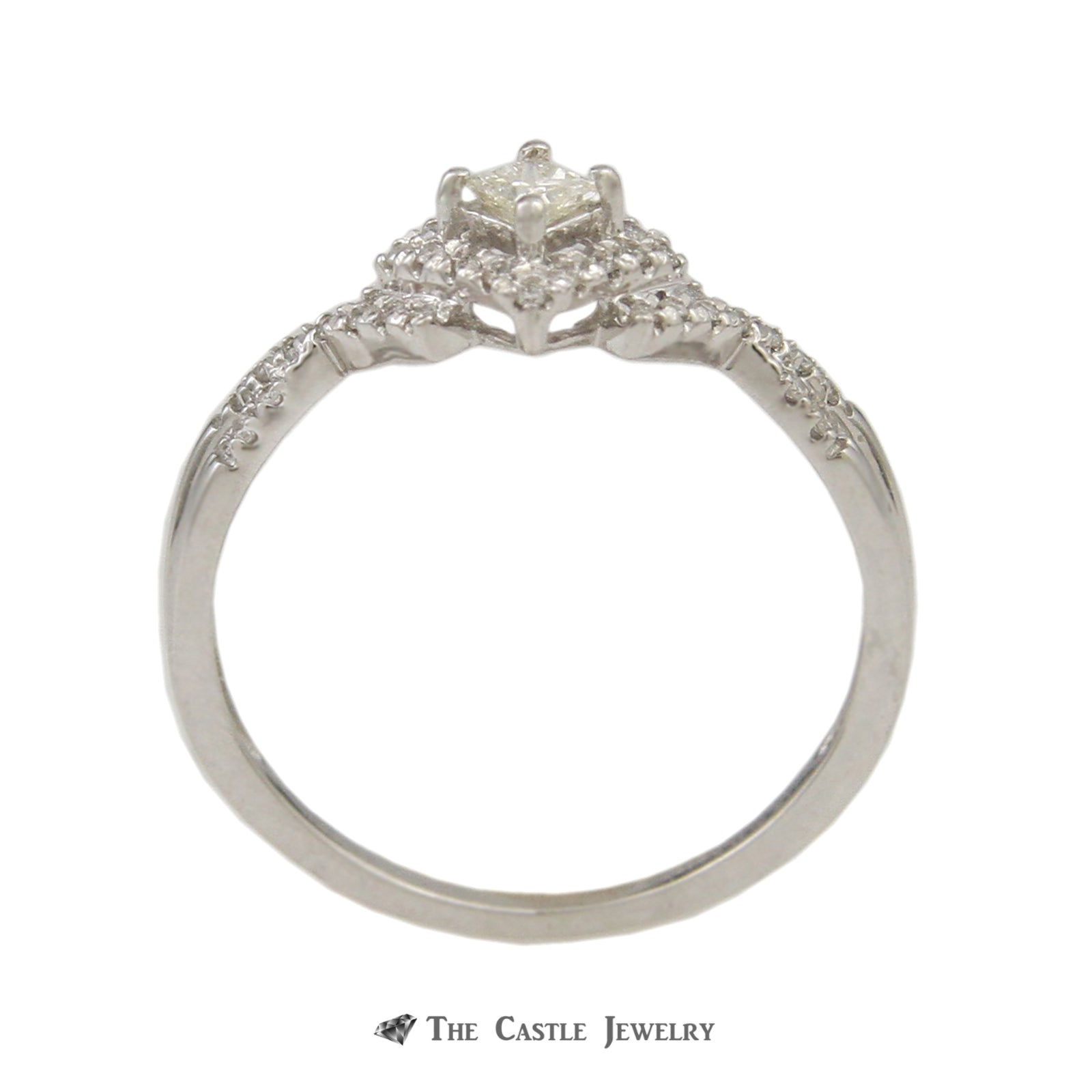 Crown Collection .25cttw Princess Cut Engagement Ring Diamond Halo & Fitted Wedding Band 10K-1