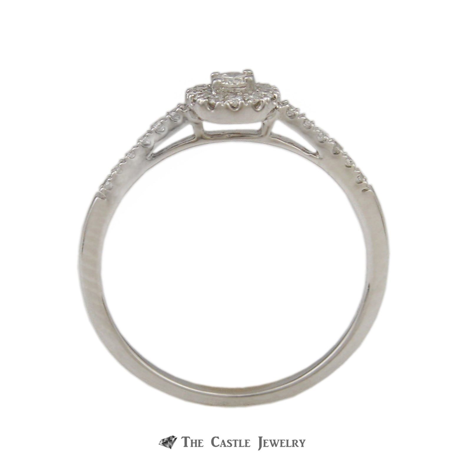 Crown Collection .30cttw Engagement Ring Round Diamond Center Halo & Diamond Wedding Band-1