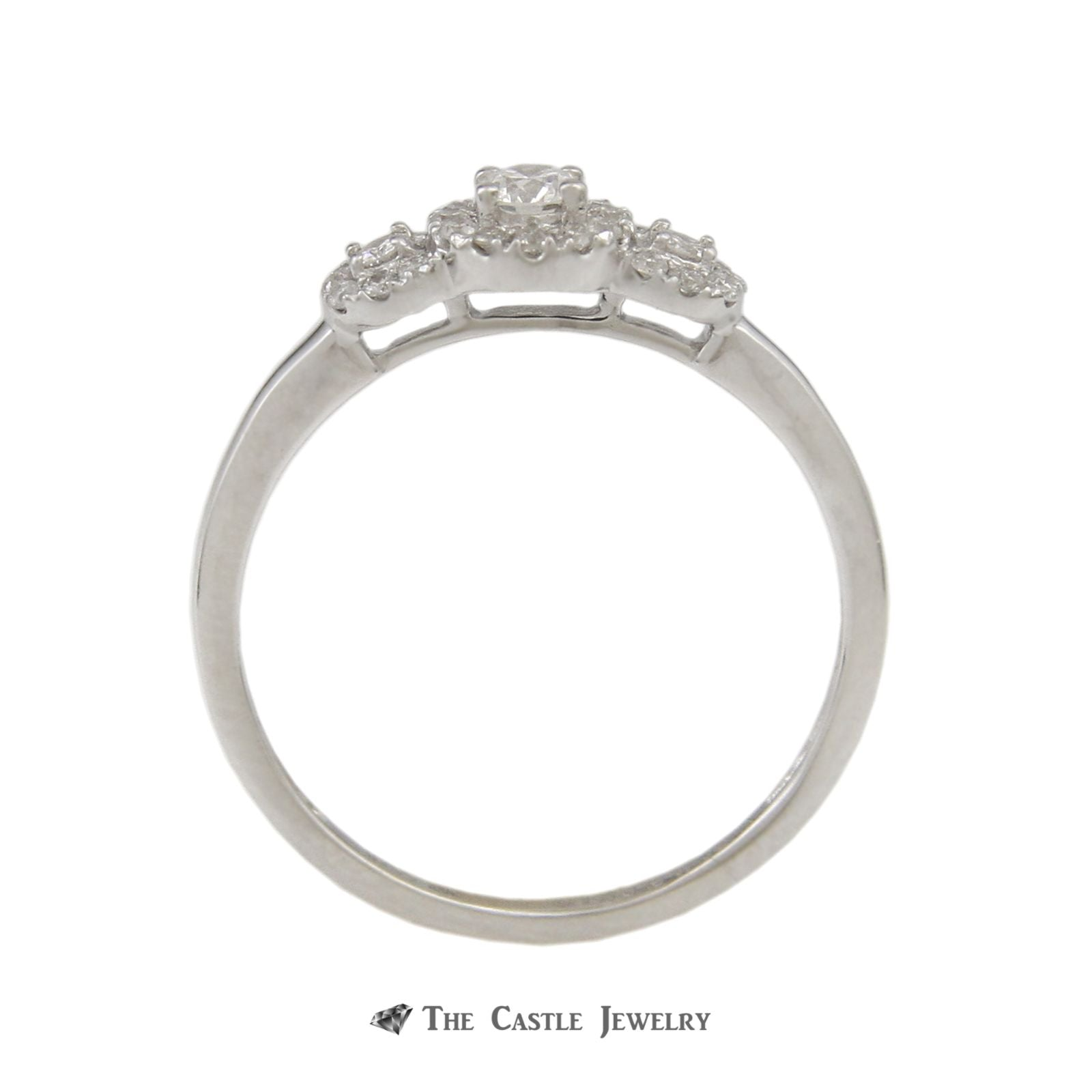 Crown Collection DeBeers Style 3 Diamond Engagement Ring Halos & Matching Band-1