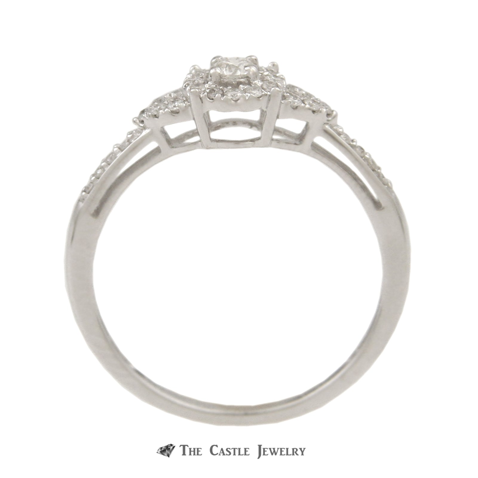 Crown Collection 1/3cttw Engagement Ring Set Round Diamond Halo and Matching Band 10K-1