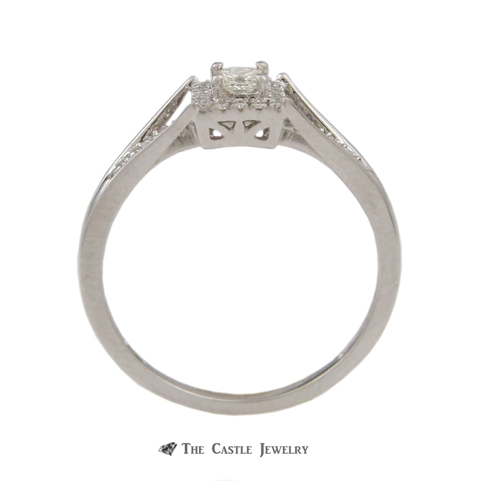 Crown Collection 1/4cttw Princess Cut Diamond Bridal Engagement Ring Set in 10K-1