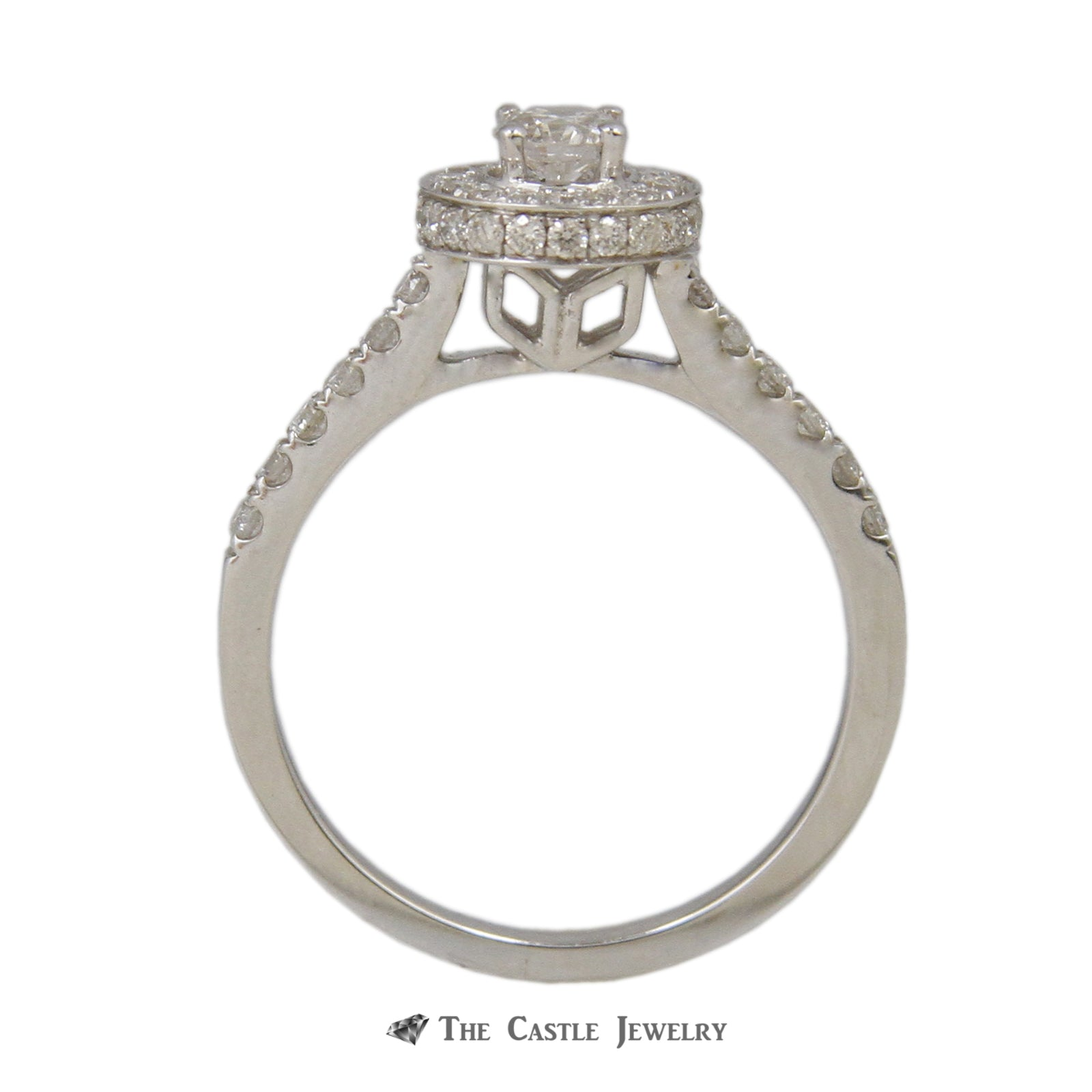 Crown Collection 1cttw Round Diamond Engagement Bridal Set w/ Halo and Cathedral in 14K White Gold-1