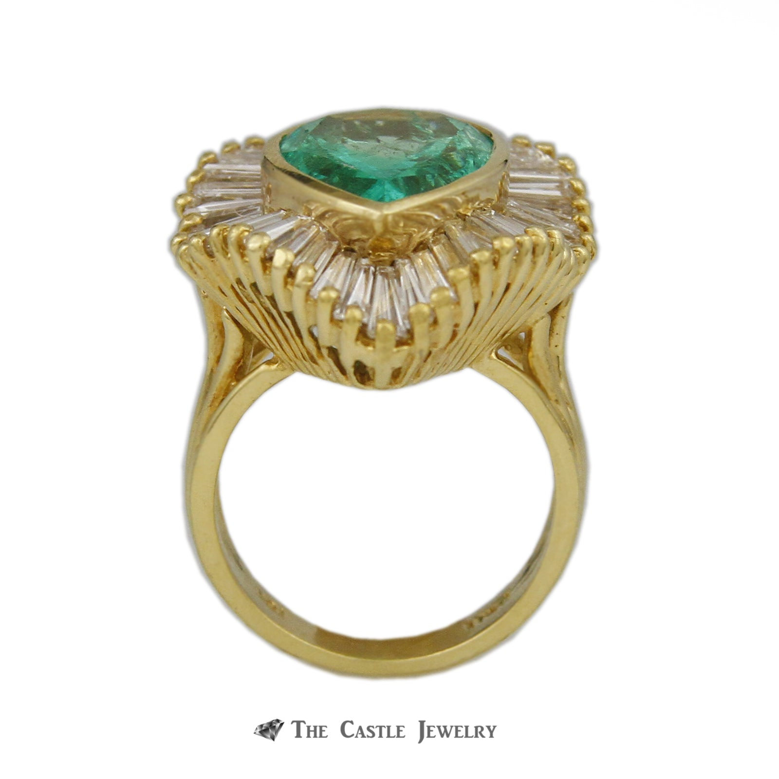Pear Shaped 6.50ct Emerald Ring with Wavy 5.50cttw Baguette Halo-1